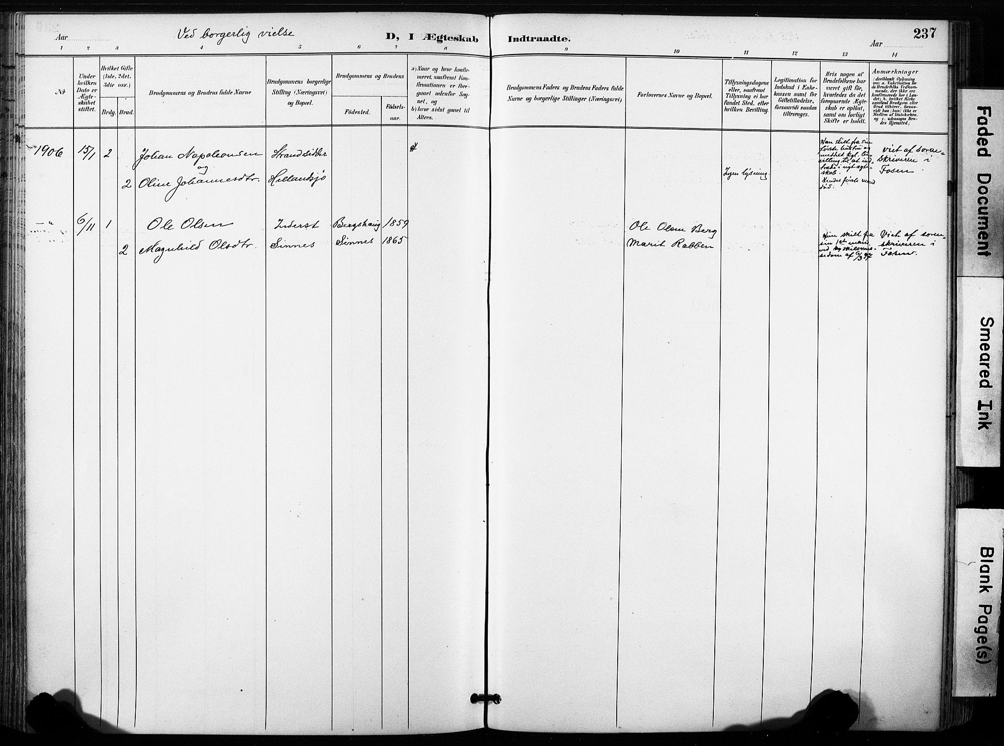 SAT, Ministerialprotokoller, klokkerbøker og fødselsregistre - Sør-Trøndelag, 630/L0497: Ministerialbok nr. 630A10, 1896-1910, s. 237