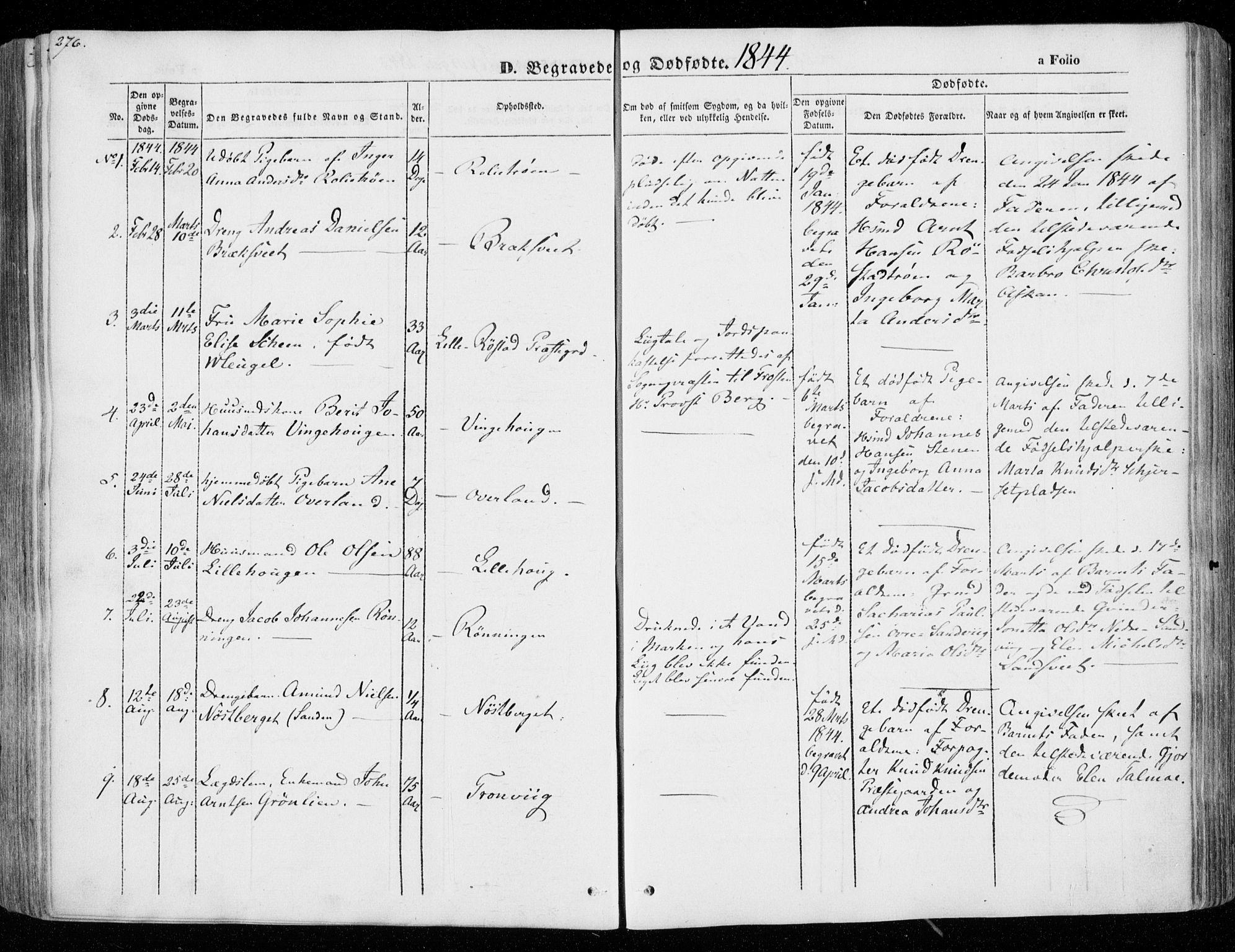 SAT, Ministerialprotokoller, klokkerbøker og fødselsregistre - Nord-Trøndelag, 701/L0007: Ministerialbok nr. 701A07 /1, 1842-1854, s. 276