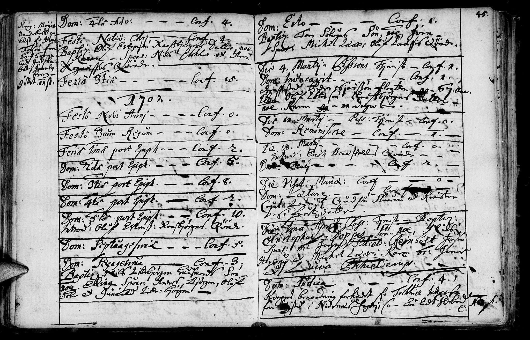 SAT, Ministerialprotokoller, klokkerbøker og fødselsregistre - Sør-Trøndelag, 687/L0990: Ministerialbok nr. 687A01, 1690-1746, s. 45
