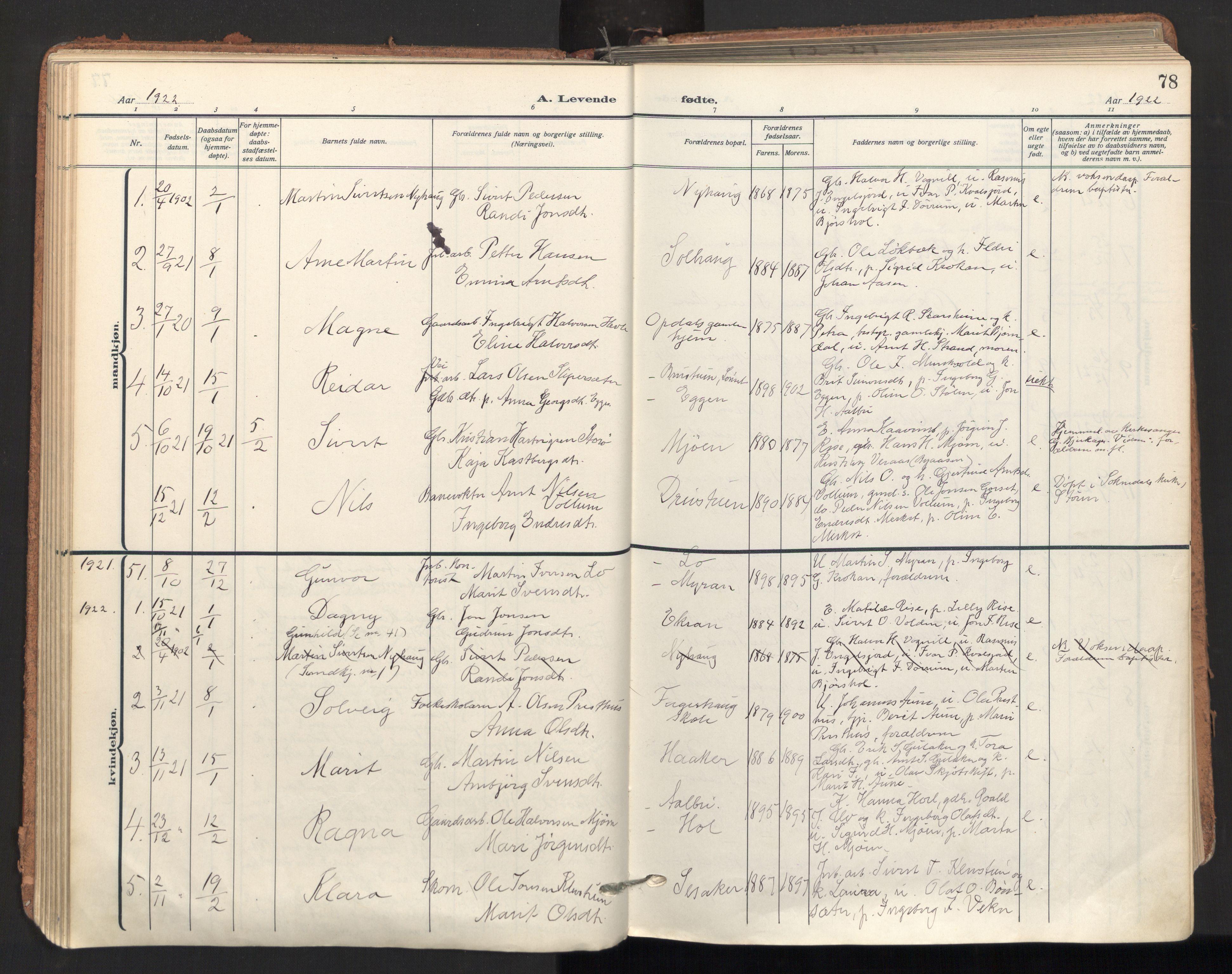 SAT, Ministerialprotokoller, klokkerbøker og fødselsregistre - Sør-Trøndelag, 678/L0909: Ministerialbok nr. 678A17, 1912-1930, s. 78