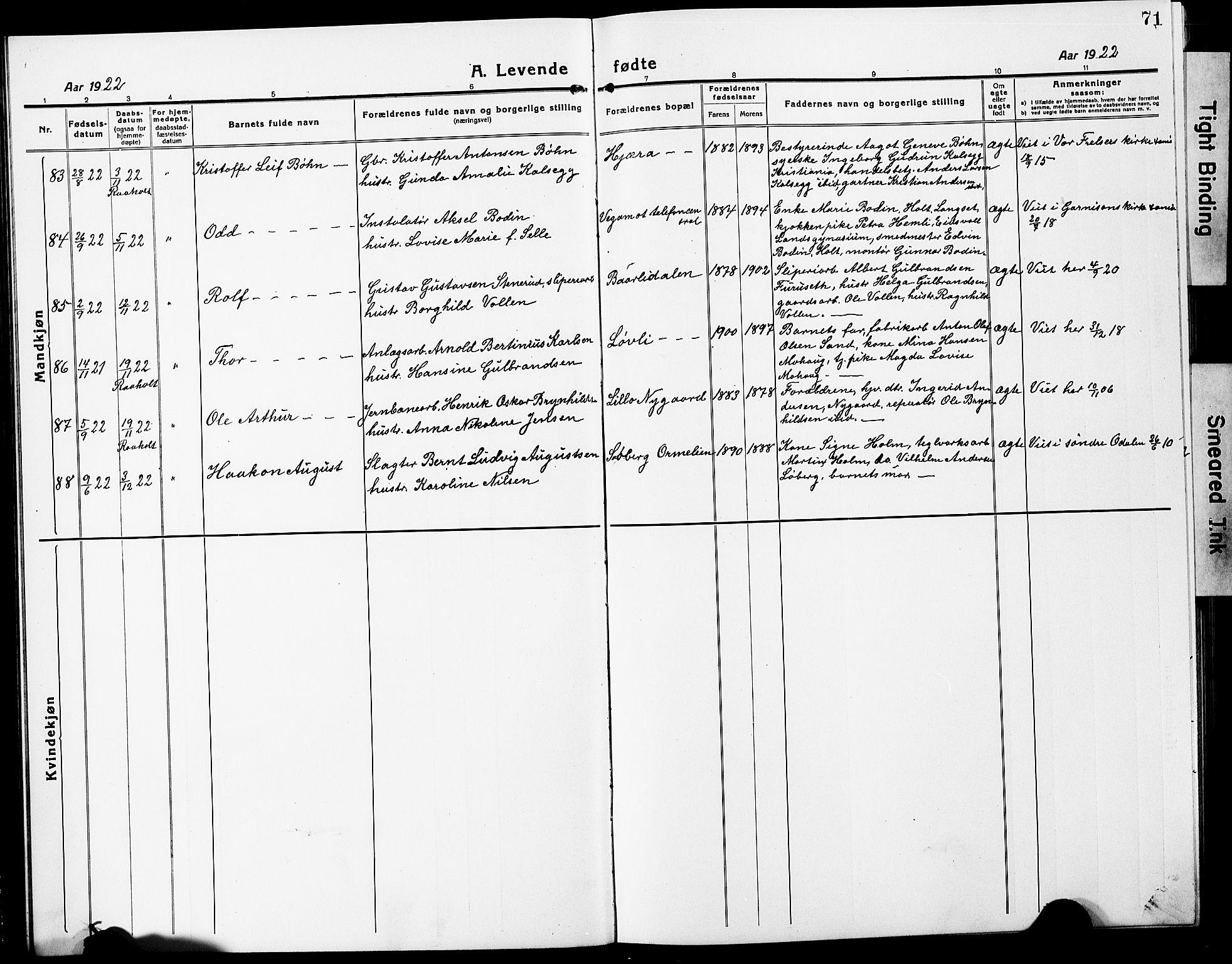 SAO, Eidsvoll prestekontor Kirkebøker, G/Ga/L0010: Klokkerbok nr. I 10, 1919-1929, s. 71