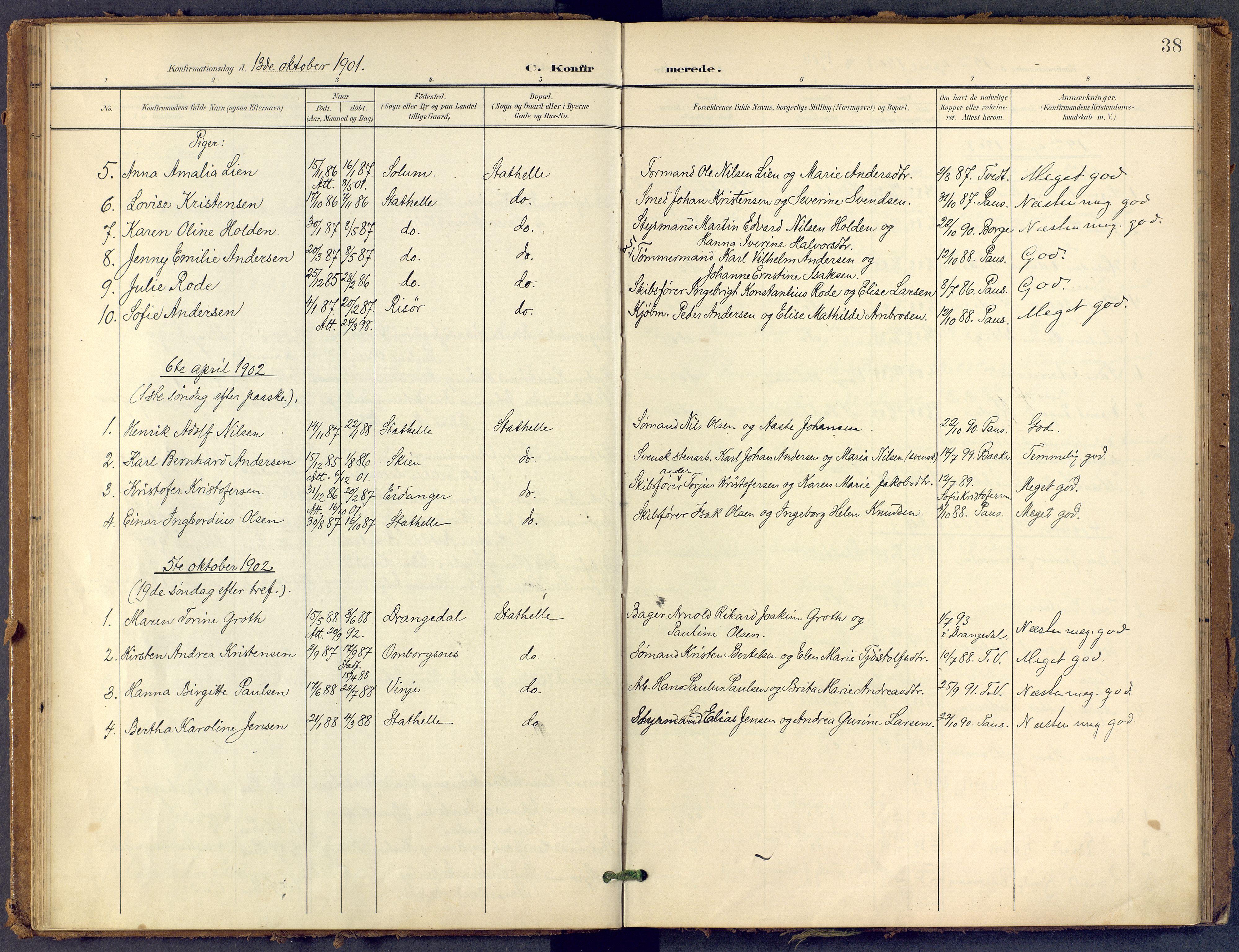 SAKO, Bamble kirkebøker, F/Fb/L0002: Ministerialbok nr. II 2, 1900-1921, s. 38