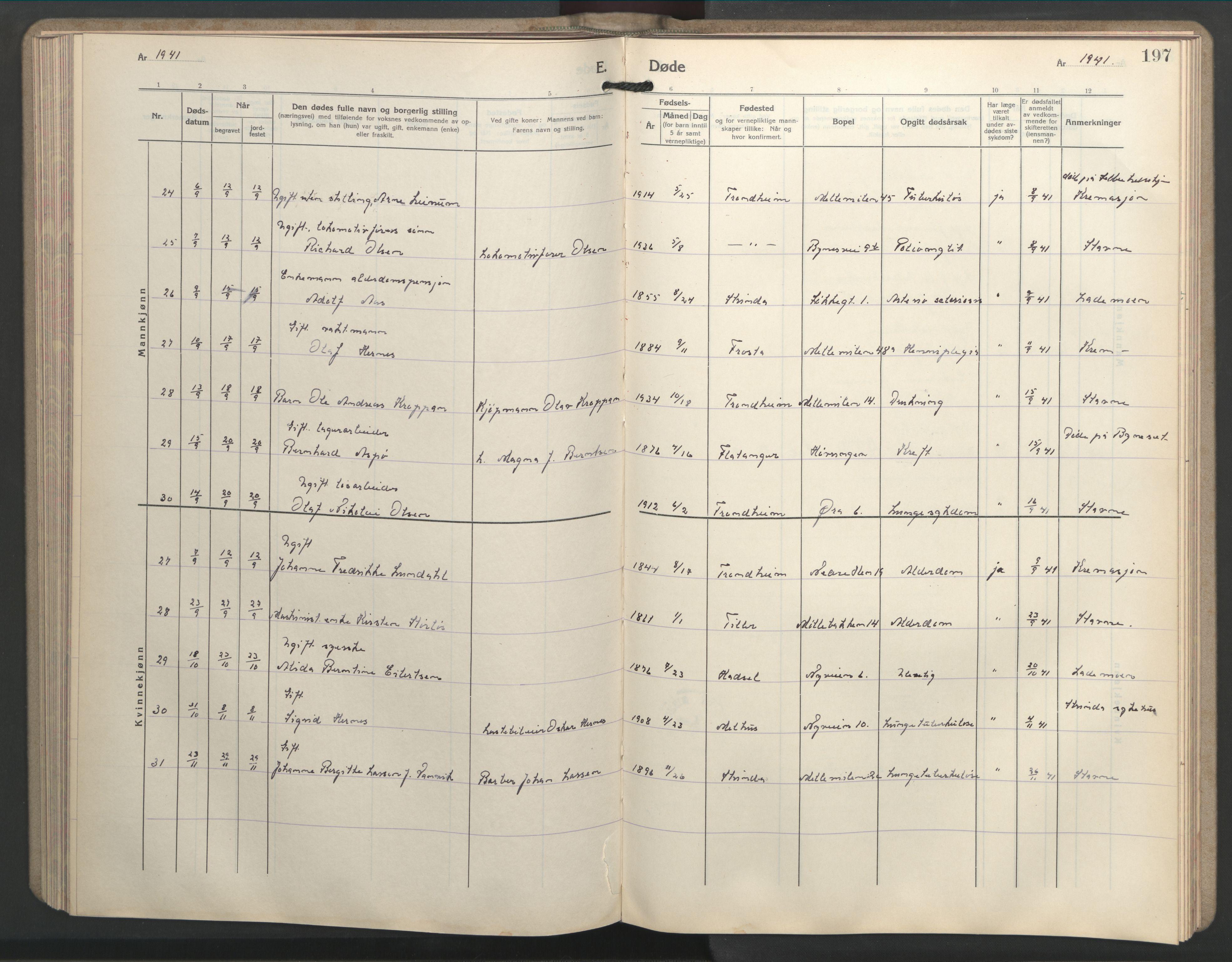 SAT, Ministerialprotokoller, klokkerbøker og fødselsregistre - Sør-Trøndelag, 603/L0177: Klokkerbok nr. 603C05, 1941-1952, s. 197