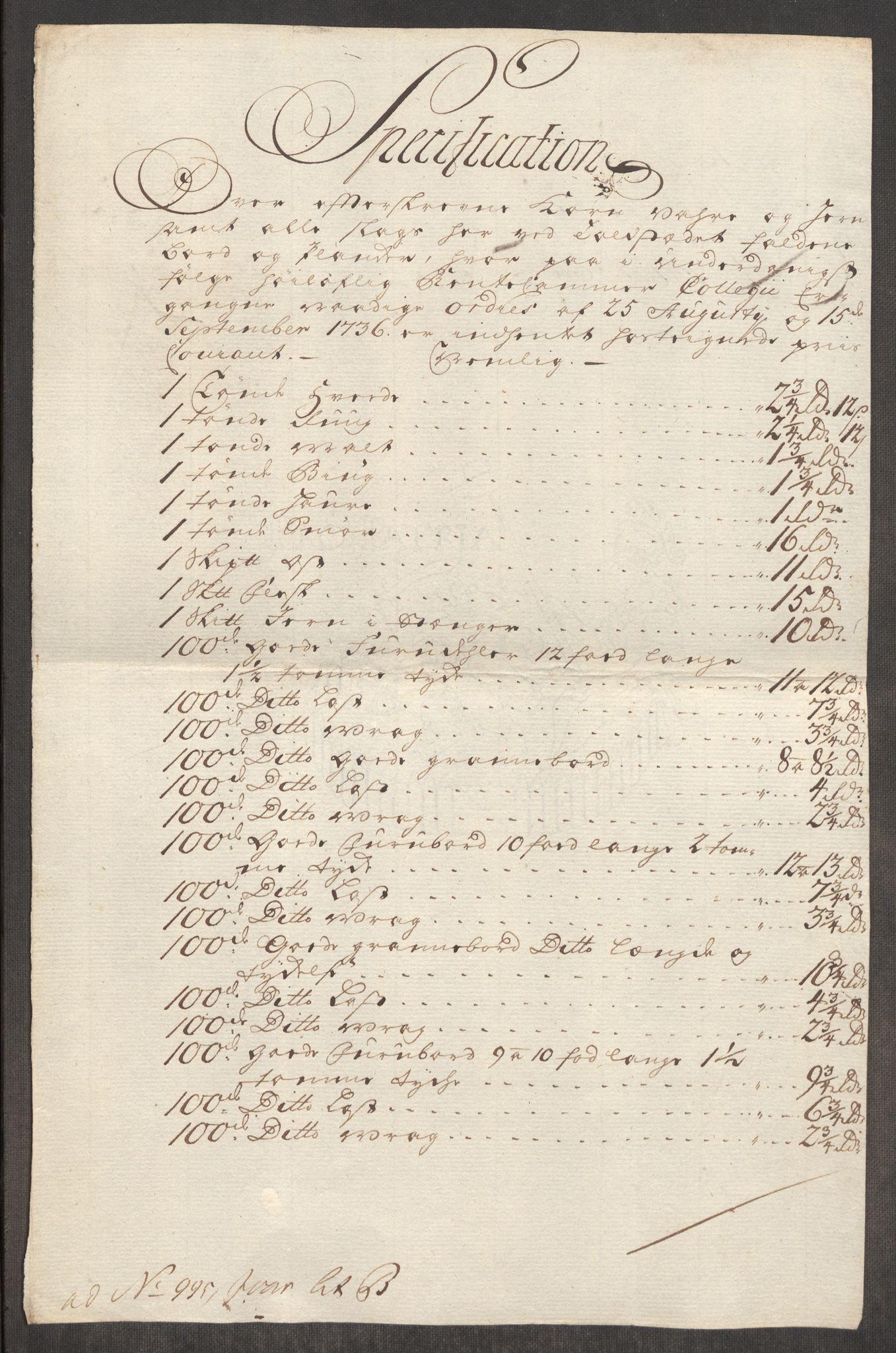 RA, Rentekammeret inntil 1814, Realistisk ordnet avdeling, Oe/L0003: [Ø1]: Priskuranter, 1745-1748, s. 726