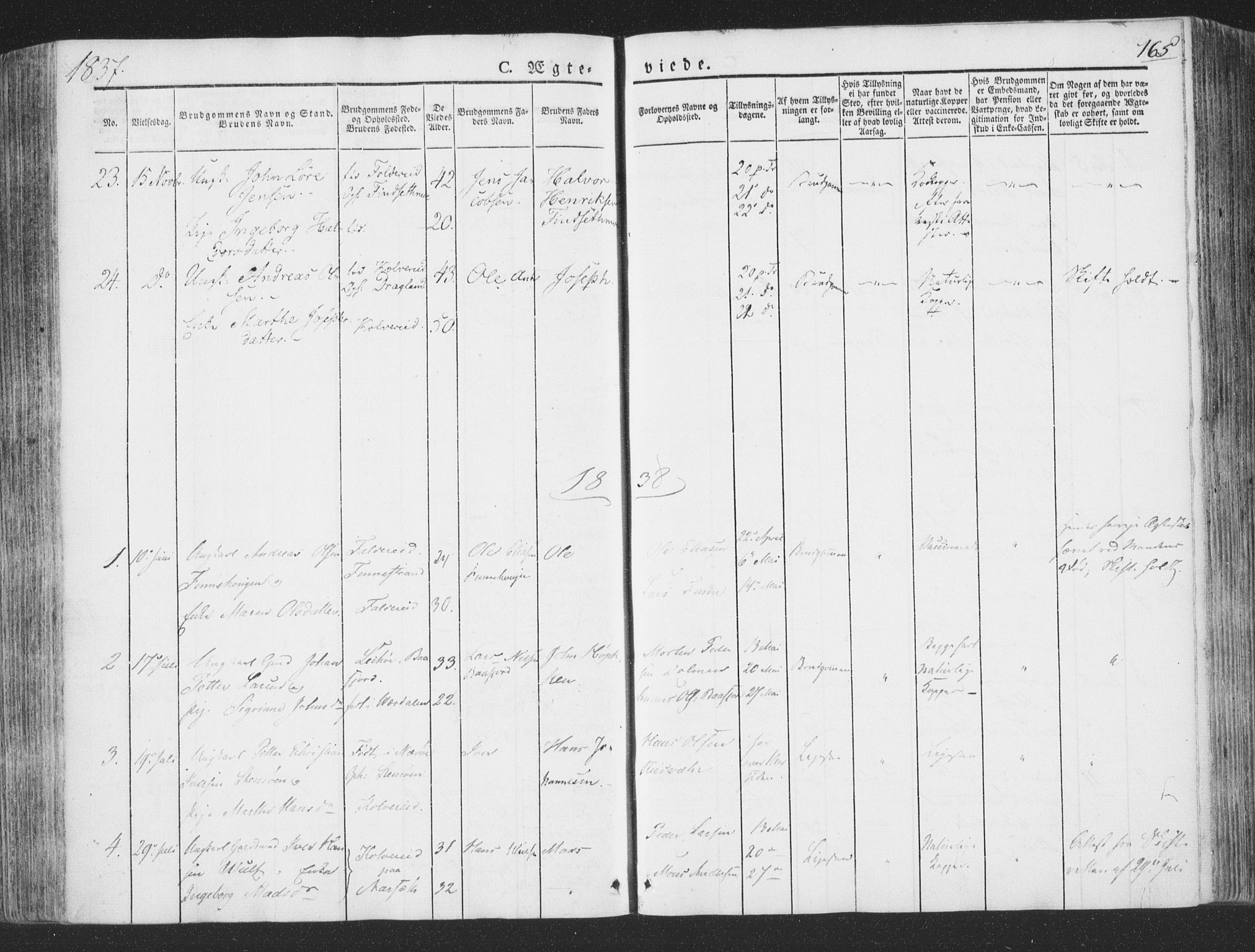 SAT, Ministerialprotokoller, klokkerbøker og fødselsregistre - Nord-Trøndelag, 780/L0639: Ministerialbok nr. 780A04, 1830-1844, s. 165