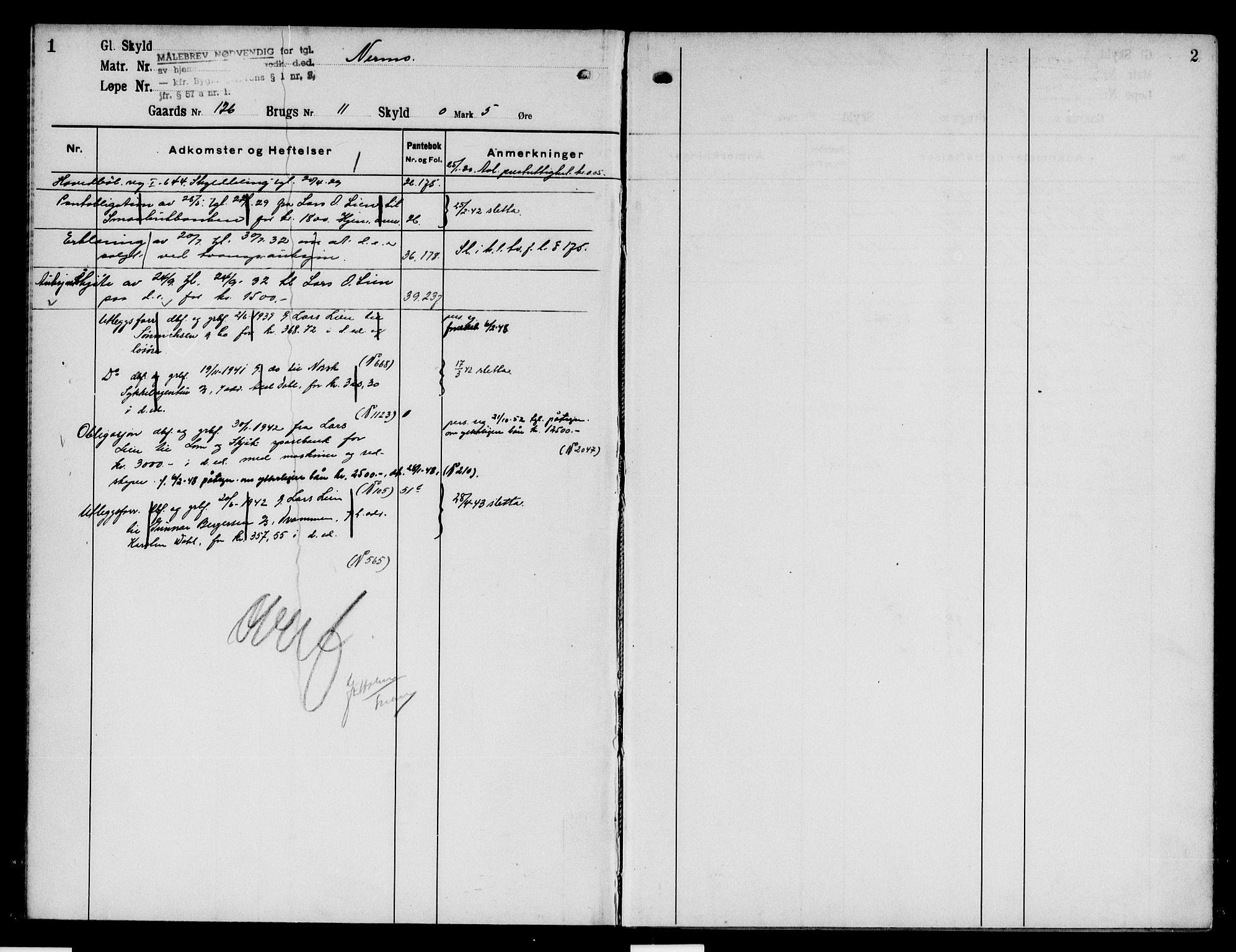 SAH, Nord-Gudbrandsdal tingrett, H/Ha/Had/L0005: Panteregister nr. 5, 1928-1950, s. 1-2