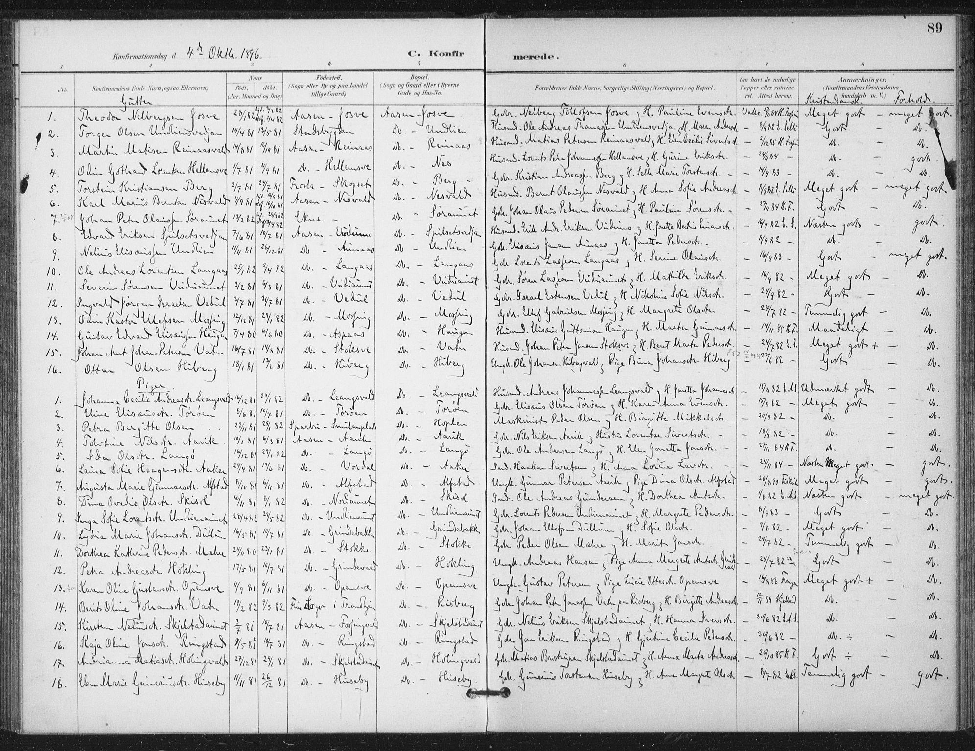 SAT, Ministerialprotokoller, klokkerbøker og fødselsregistre - Nord-Trøndelag, 714/L0131: Ministerialbok nr. 714A02, 1896-1918, s. 89