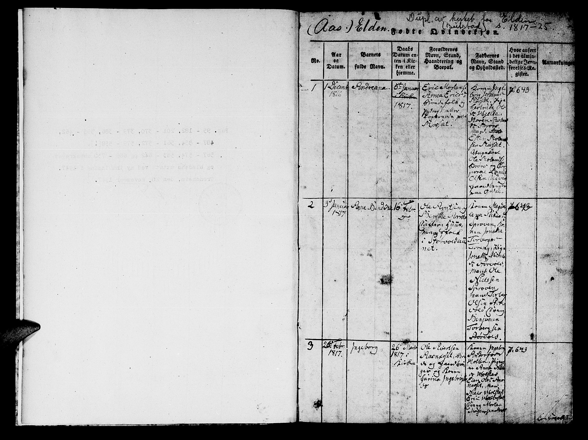 SAT, Ministerialprotokoller, klokkerbøker og fødselsregistre - Nord-Trøndelag, 742/L0411: Klokkerbok nr. 742C02, 1817-1825, s. 0-1
