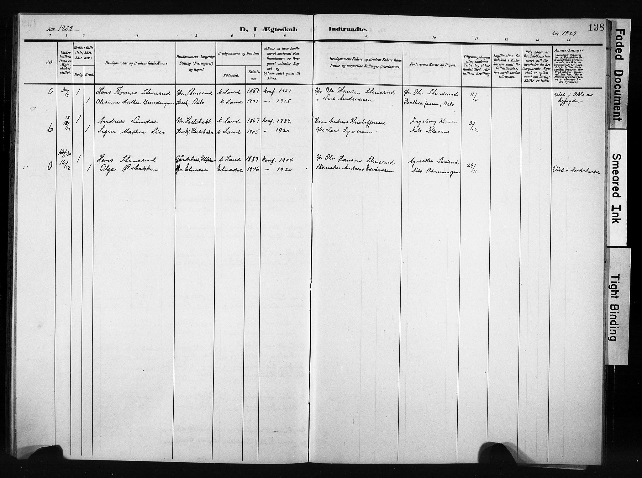SAH, Nordre Land prestekontor, Klokkerbok nr. 6, 1905-1929, s. 138