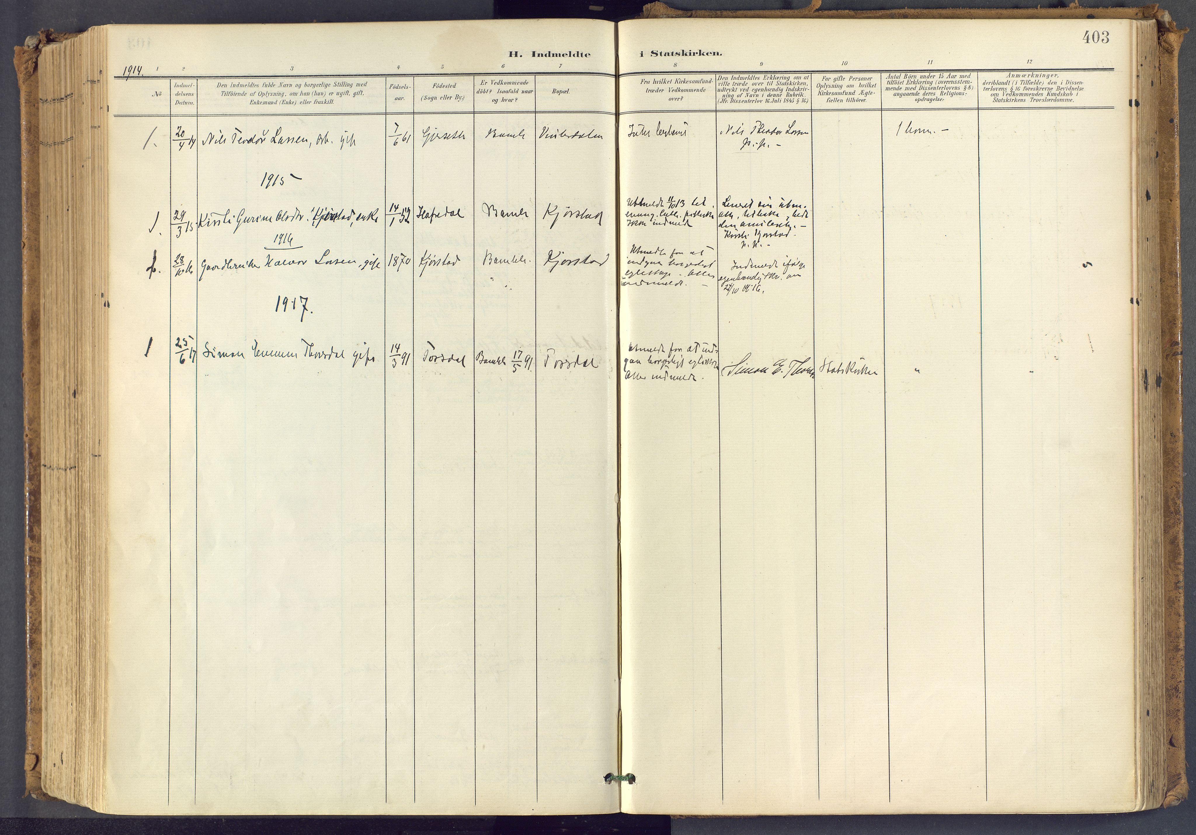 SAKO, Bamble kirkebøker, F/Fa/L0009: Ministerialbok nr. I 9, 1901-1917, s. 403
