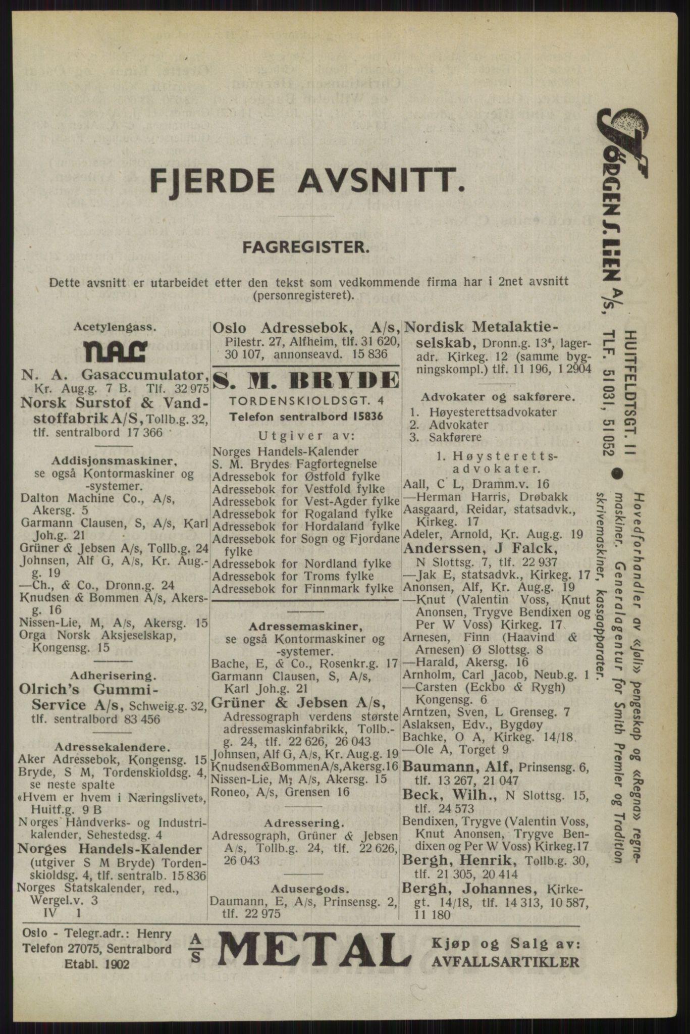 RA, Oslo adressebok (publikasjon)*, 1944, s. upaginert