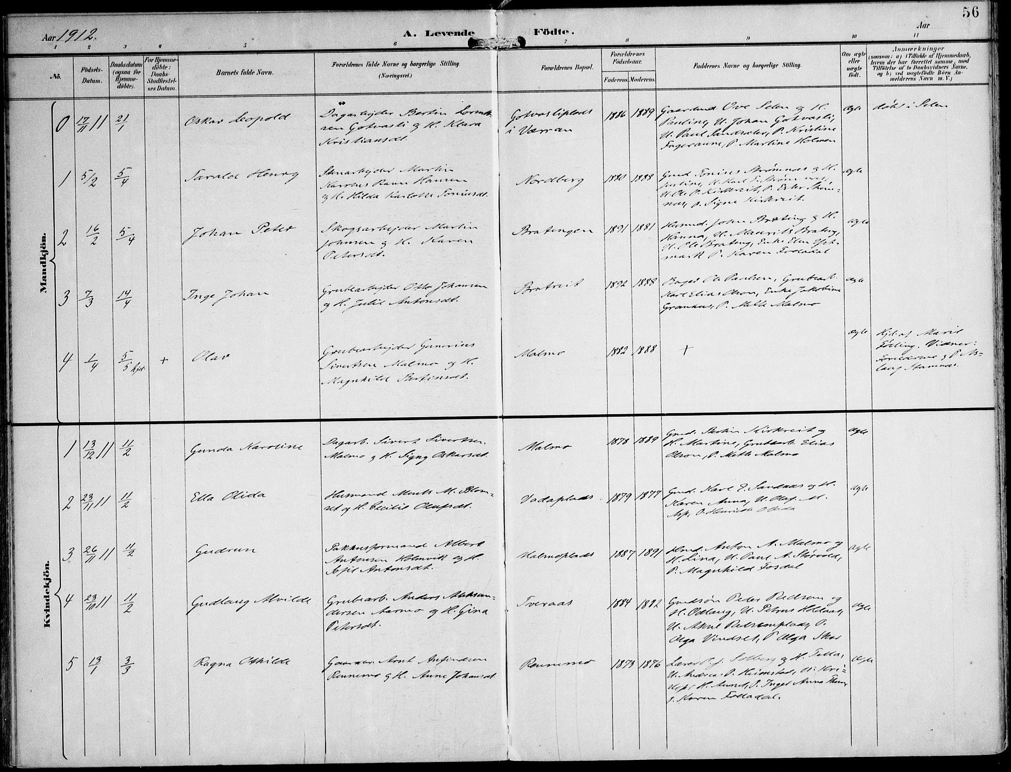 SAT, Ministerialprotokoller, klokkerbøker og fødselsregistre - Nord-Trøndelag, 745/L0430: Ministerialbok nr. 745A02, 1895-1913, s. 56
