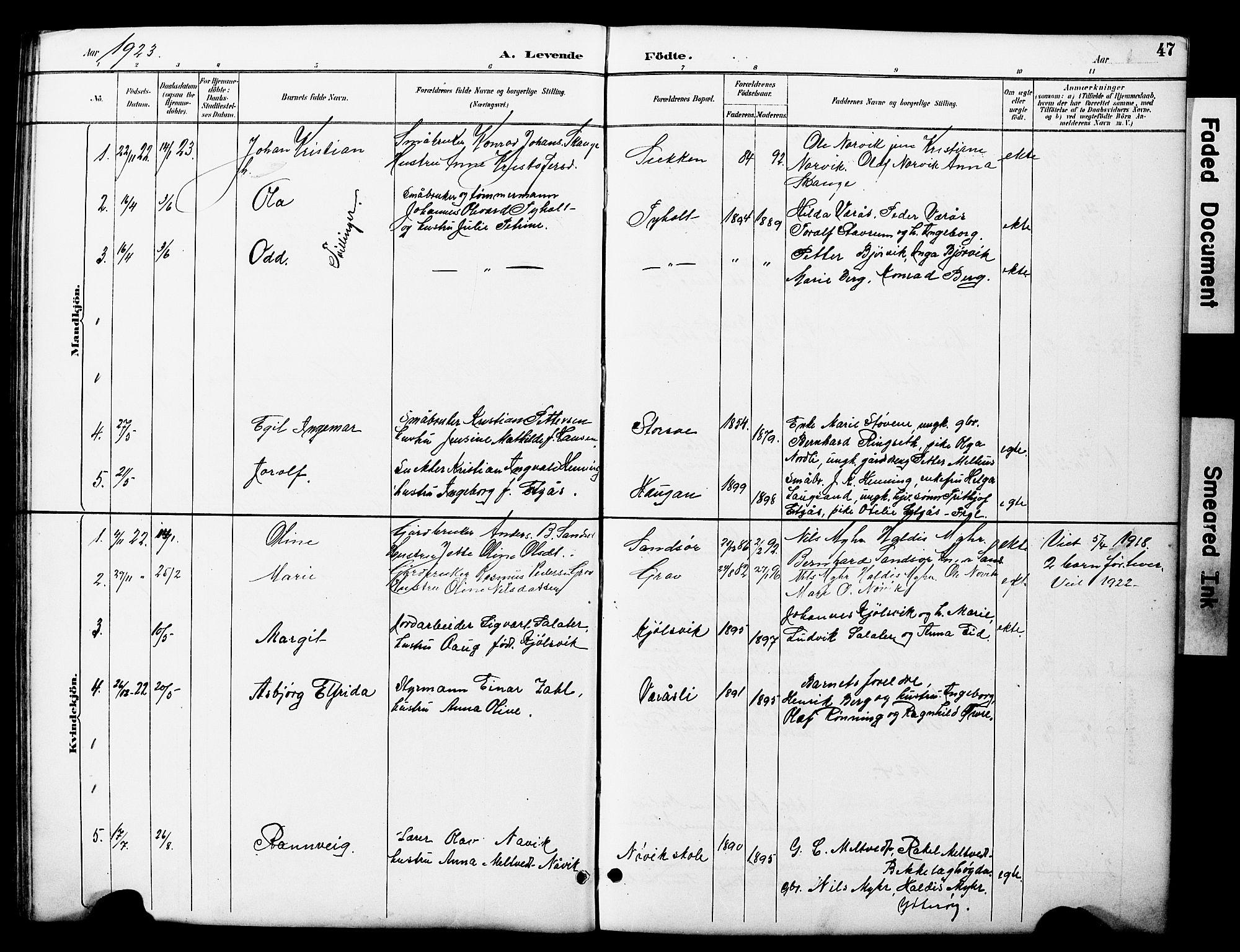SAT, Ministerialprotokoller, klokkerbøker og fødselsregistre - Nord-Trøndelag, 722/L0226: Klokkerbok nr. 722C02, 1889-1927, s. 47