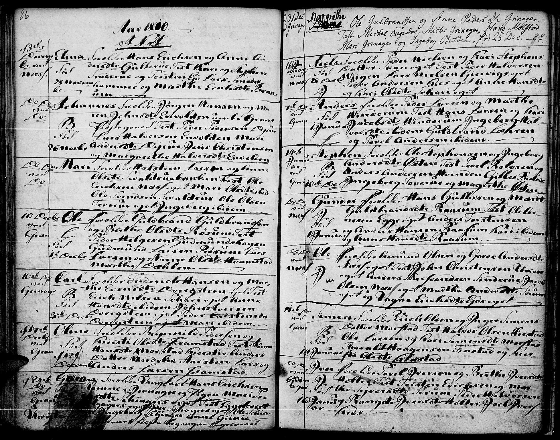SAH, Gran prestekontor, Ministerialbok nr. 7, 1804-1815, s. 86-87