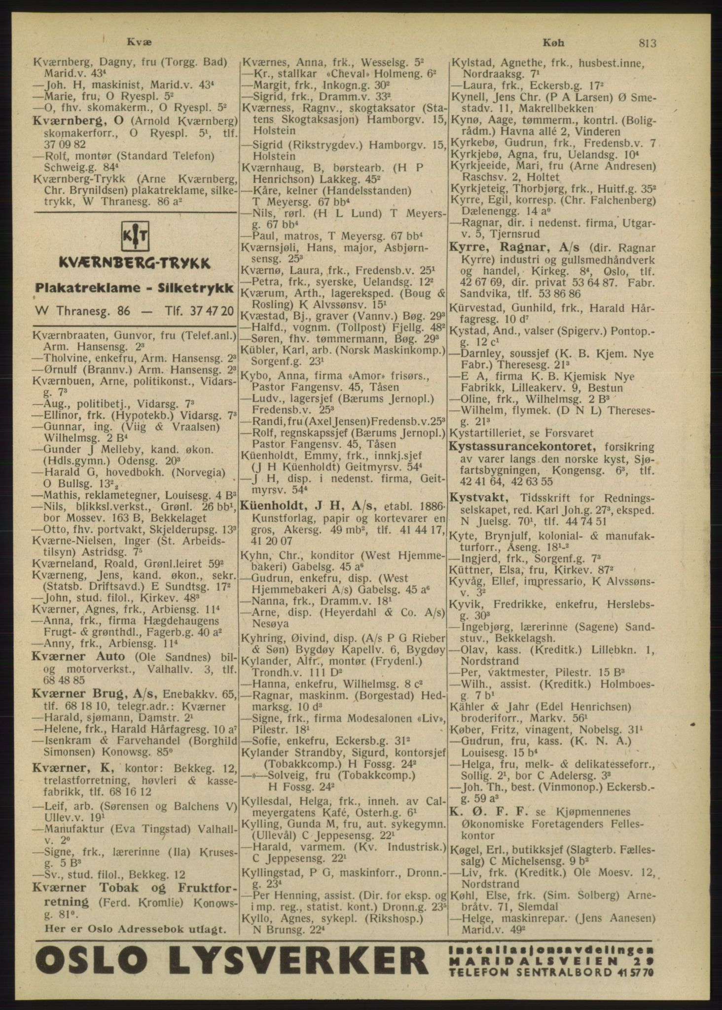 PUBL, Kristiania/Oslo adressebok, 1948, s. 813