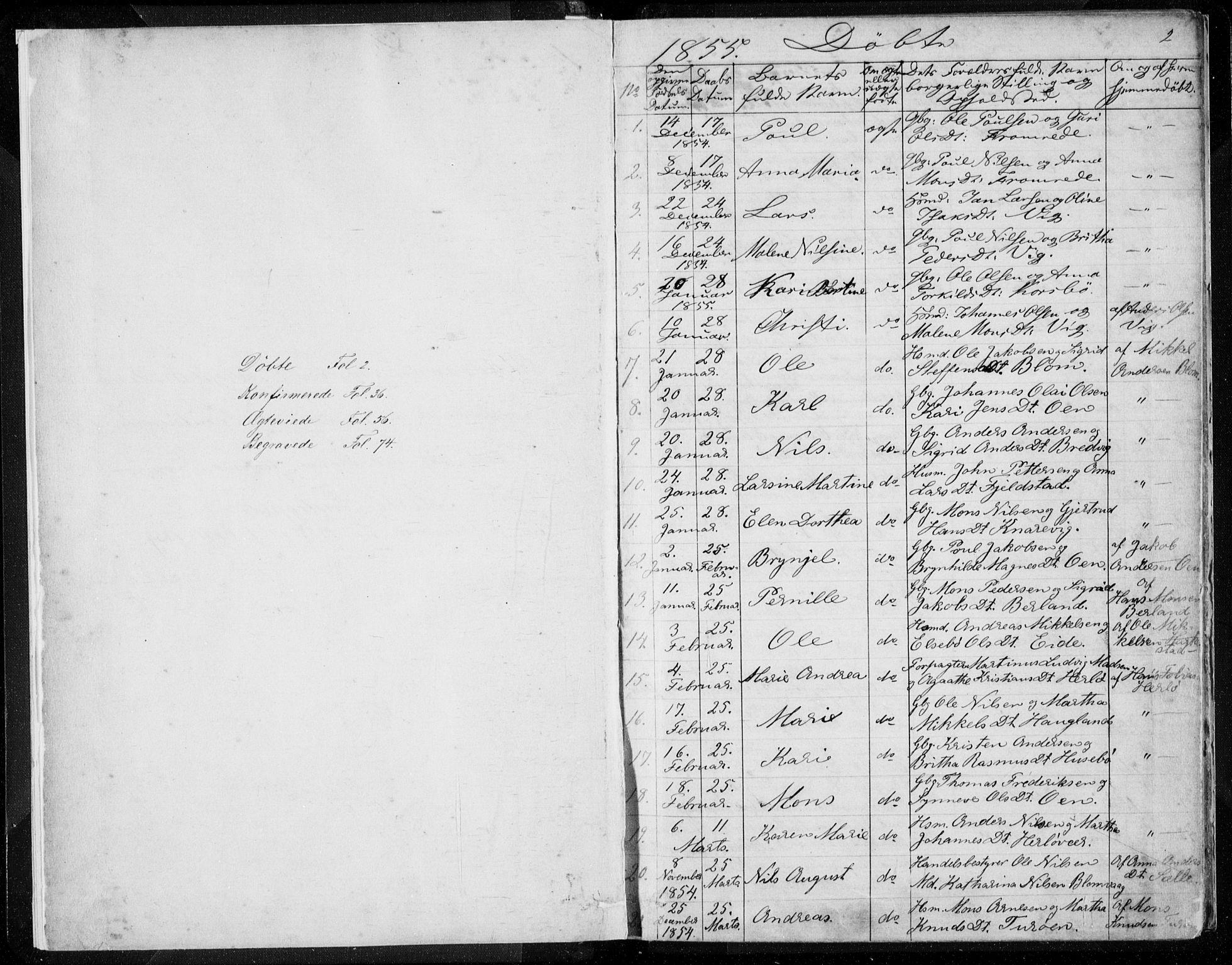 SAB, Herdla Sokneprestembete, H/Haa: Ministerialbok nr. A 1, 1855-1869, s. 2
