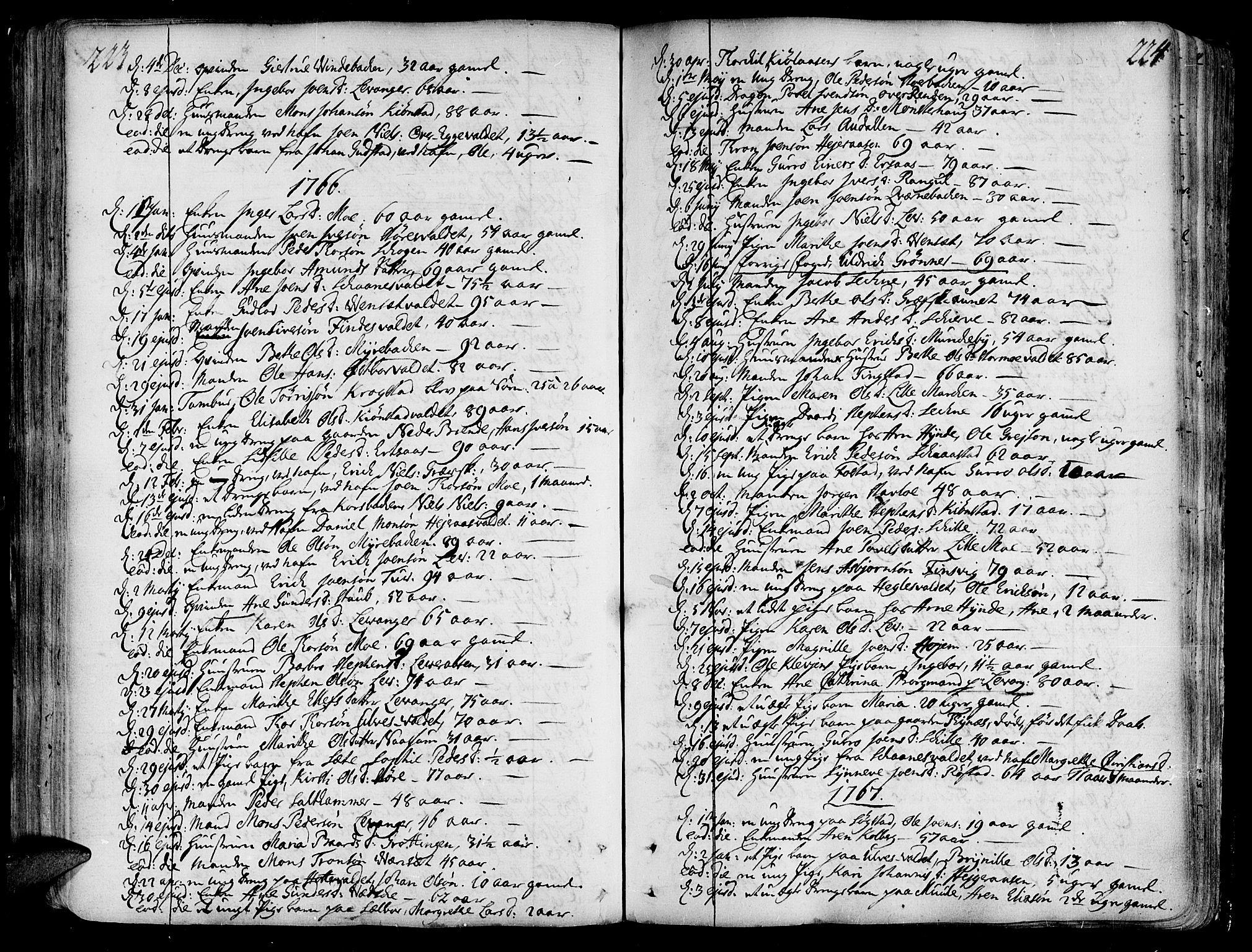 SAT, Ministerialprotokoller, klokkerbøker og fødselsregistre - Nord-Trøndelag, 717/L0141: Ministerialbok nr. 717A01, 1747-1803, s. 223-224