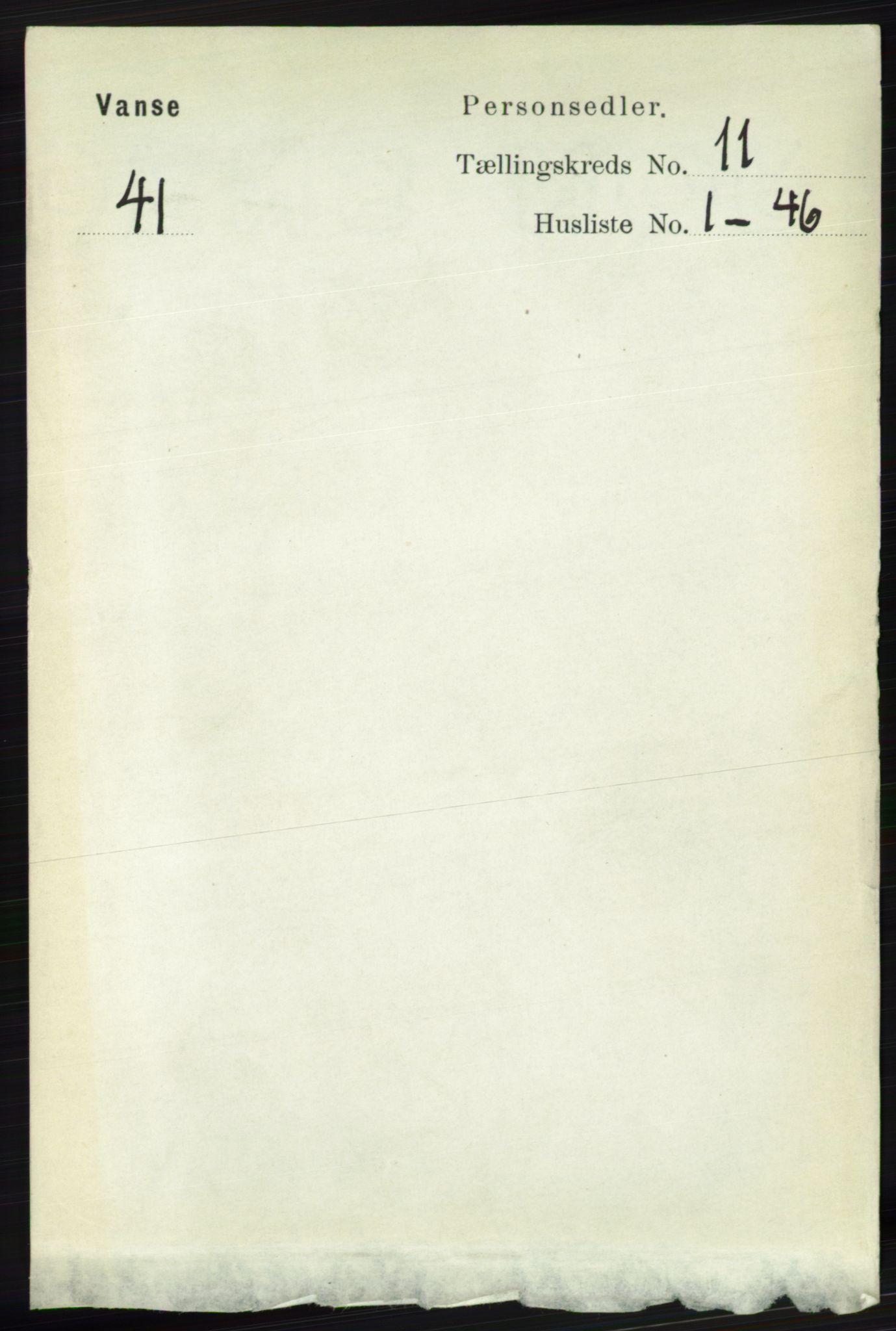 RA, Folketelling 1891 for 1041 Vanse herred, 1891, s. 6190