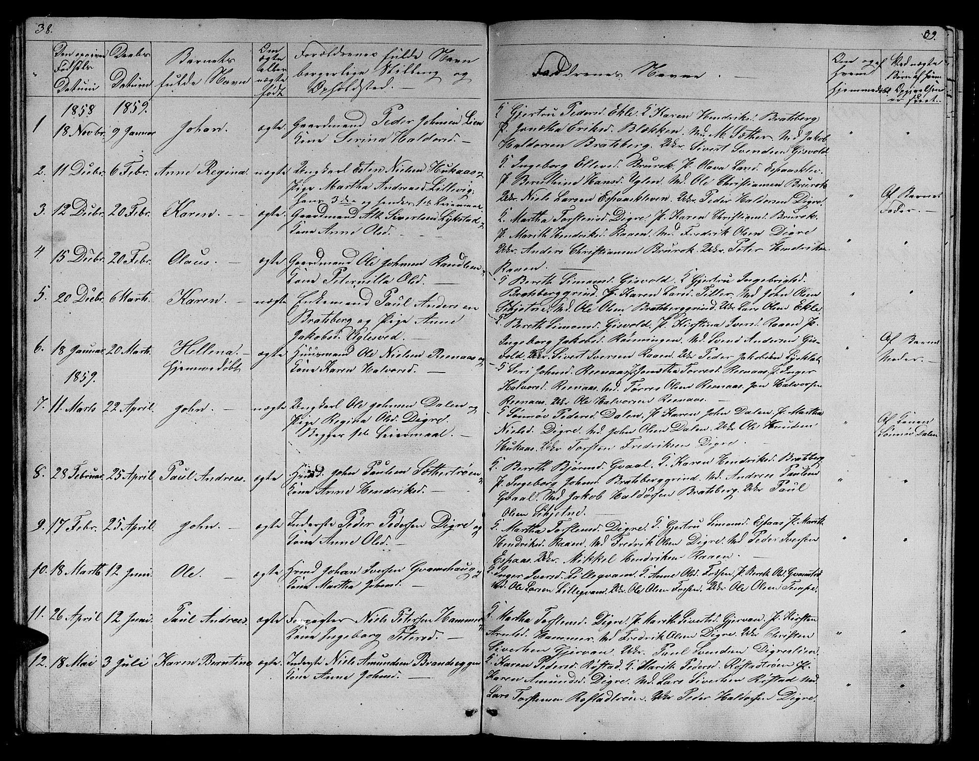 SAT, Ministerialprotokoller, klokkerbøker og fødselsregistre - Sør-Trøndelag, 608/L0339: Klokkerbok nr. 608C05, 1844-1863, s. 38-39