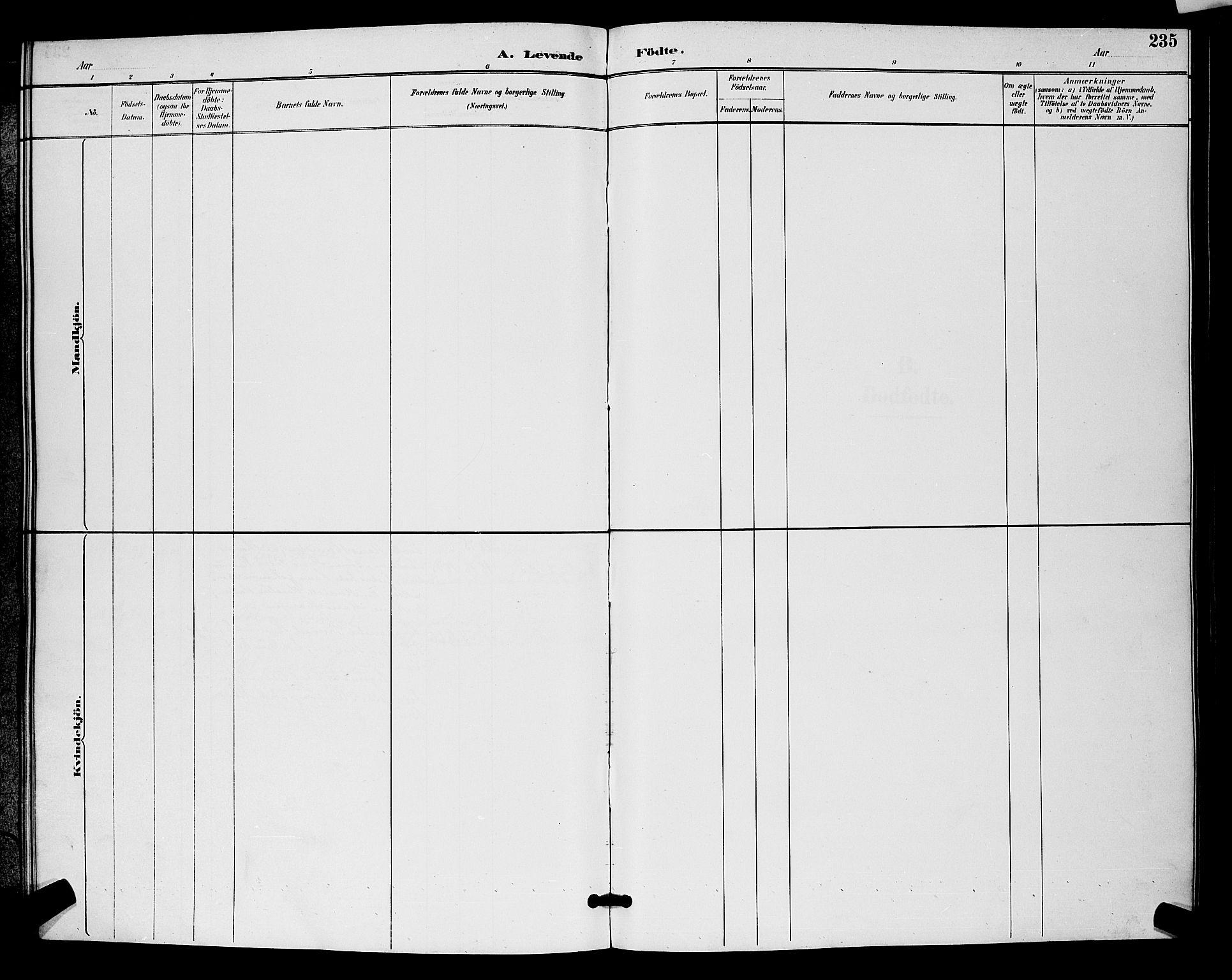 SAO, Moss prestekontor Kirkebøker, G/Ga/L0006: Klokkerbok nr. I 6, 1889-1900, s. 235