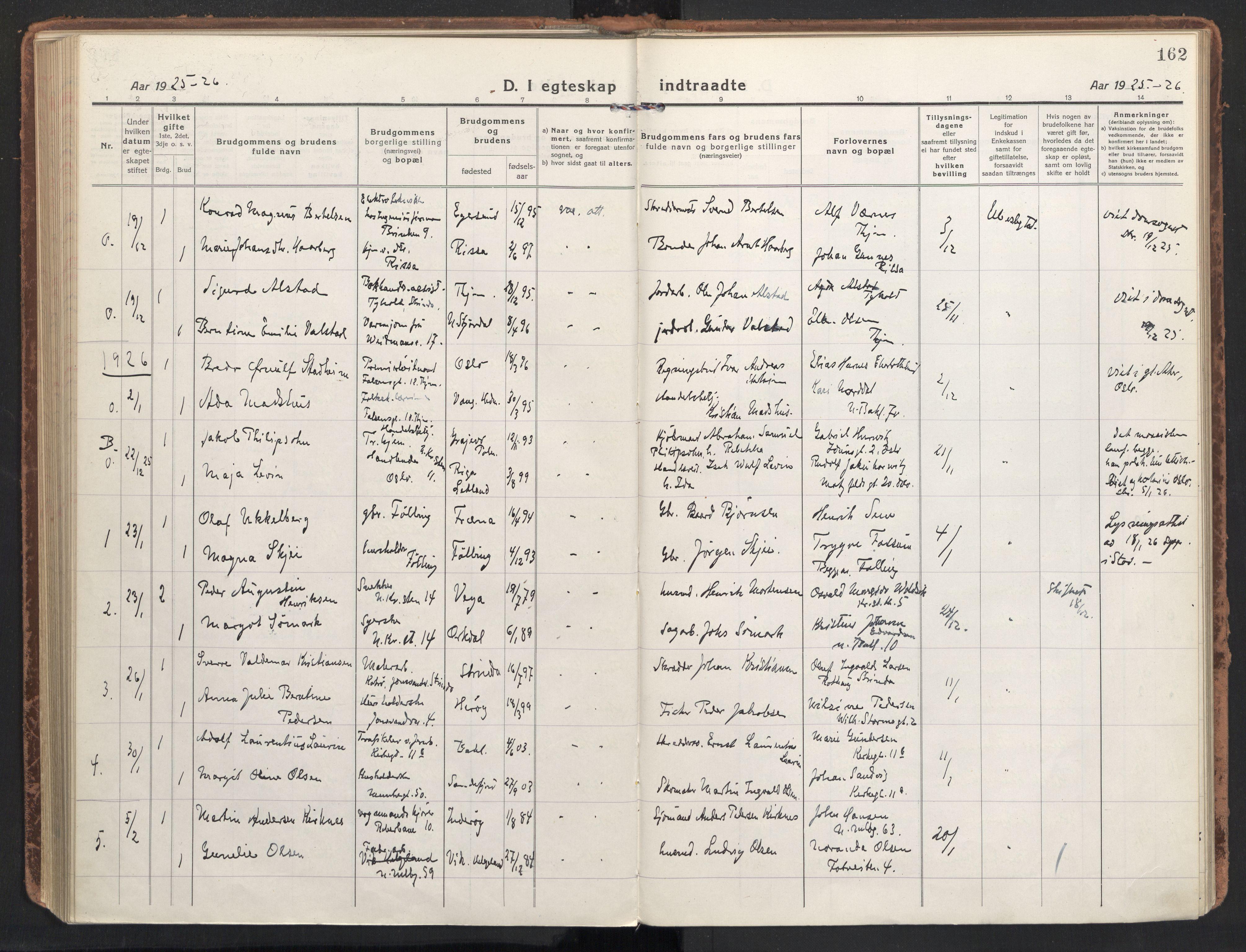 SAT, Ministerialprotokoller, klokkerbøker og fødselsregistre - Sør-Trøndelag, 604/L0206: Ministerialbok nr. 604A26, 1917-1931, s. 162