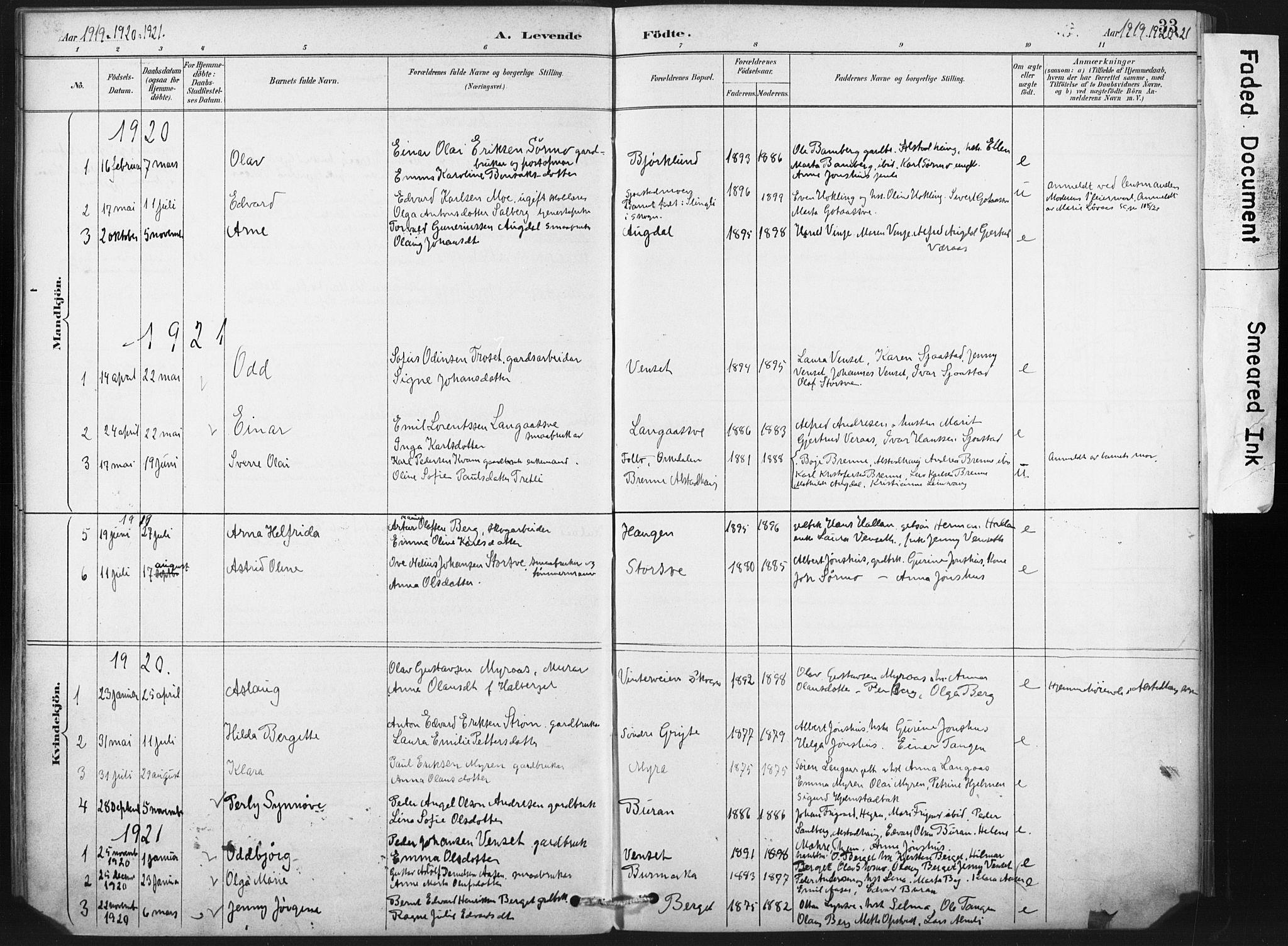 SAT, Ministerialprotokoller, klokkerbøker og fødselsregistre - Nord-Trøndelag, 718/L0175: Ministerialbok nr. 718A01, 1890-1923, s. 33