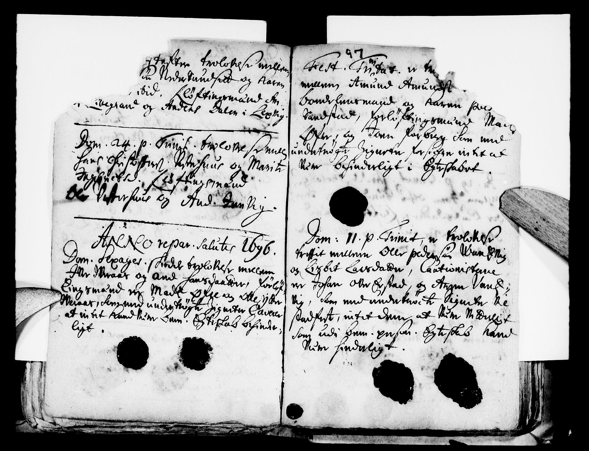 SAT, Ministerialprotokoller, klokkerbøker og fødselsregistre - Nord-Trøndelag, 722/L0214: Ministerialbok nr. 722A01, 1692-1718, s. 97