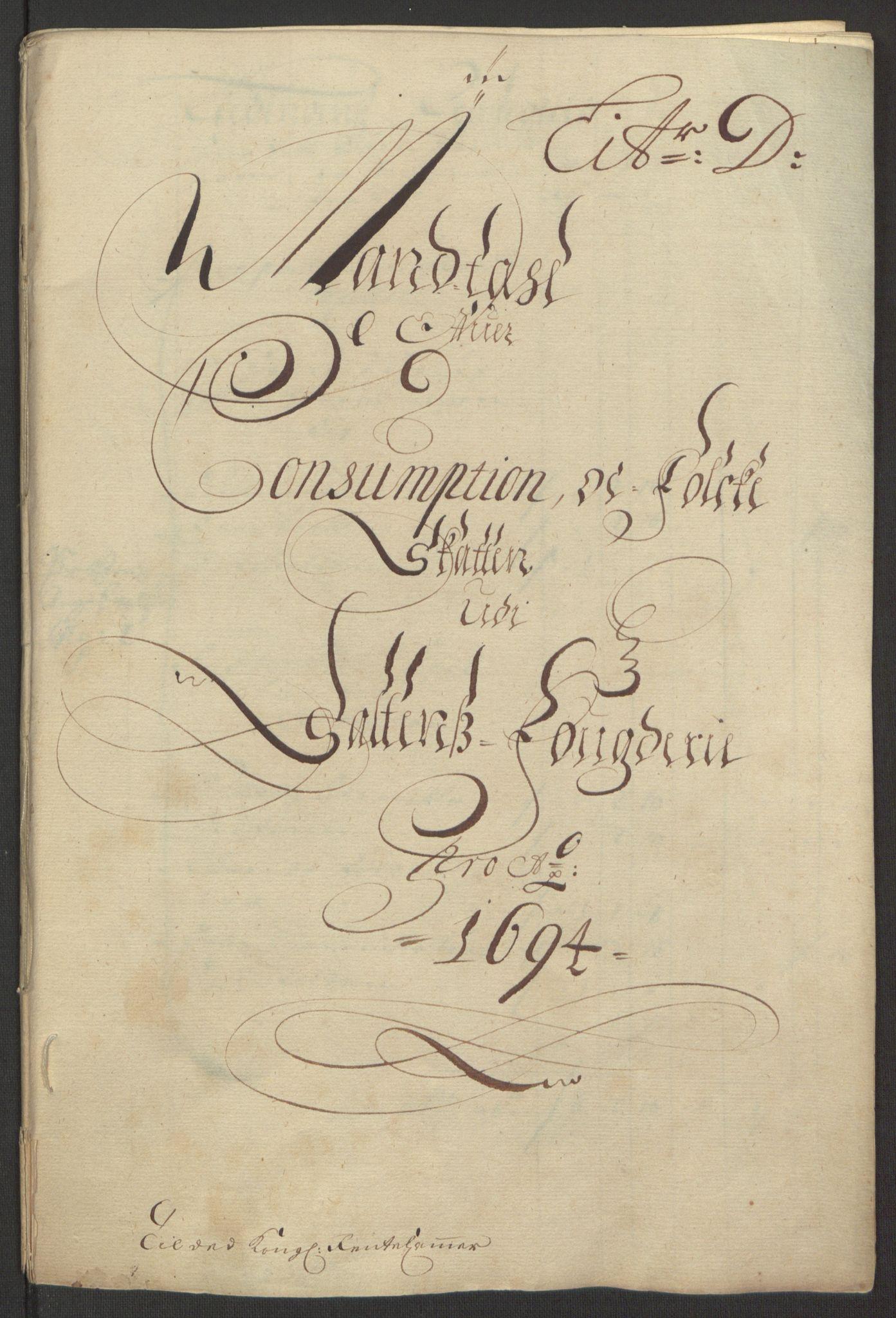 RA, Rentekammeret inntil 1814, Reviderte regnskaper, Fogderegnskap, R66/L4578: Fogderegnskap Salten, 1694-1696, s. 57