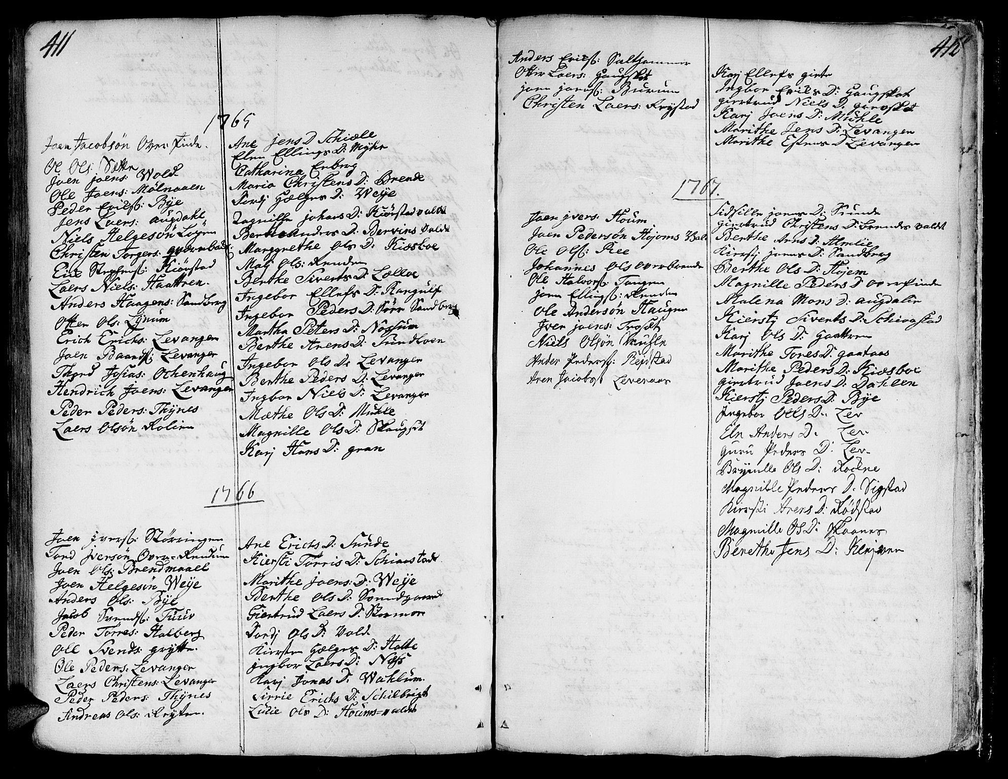 SAT, Ministerialprotokoller, klokkerbøker og fødselsregistre - Nord-Trøndelag, 717/L0141: Ministerialbok nr. 717A01, 1747-1803, s. 411-412