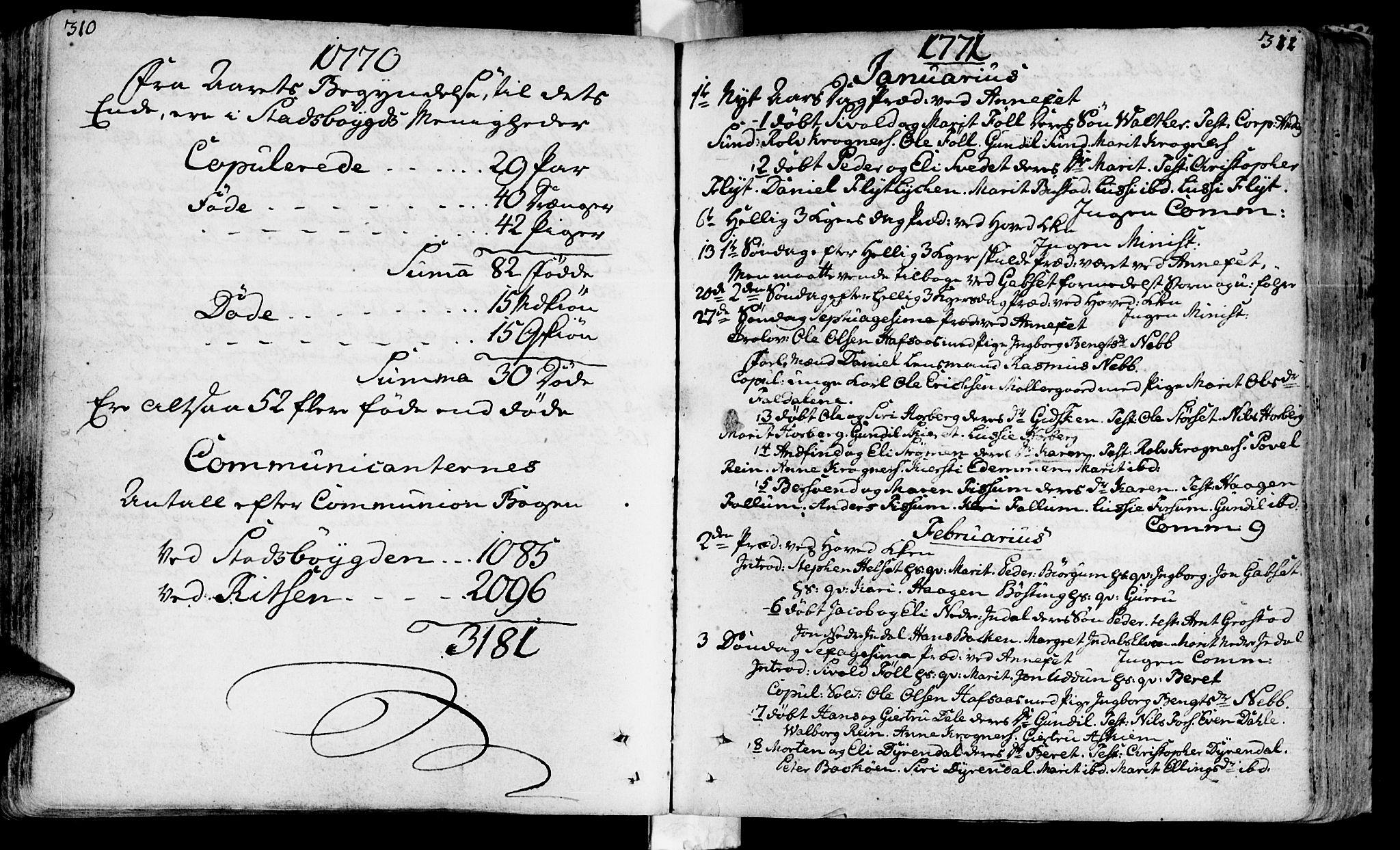 SAT, Ministerialprotokoller, klokkerbøker og fødselsregistre - Sør-Trøndelag, 646/L0605: Ministerialbok nr. 646A03, 1751-1790, s. 310-311