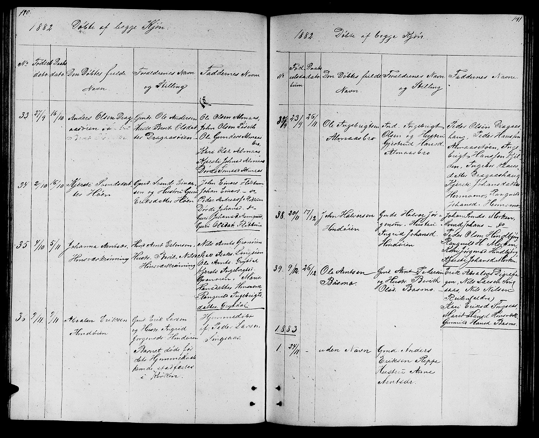 SAT, Ministerialprotokoller, klokkerbøker og fødselsregistre - Sør-Trøndelag, 688/L1027: Klokkerbok nr. 688C02, 1861-1889, s. 140-141