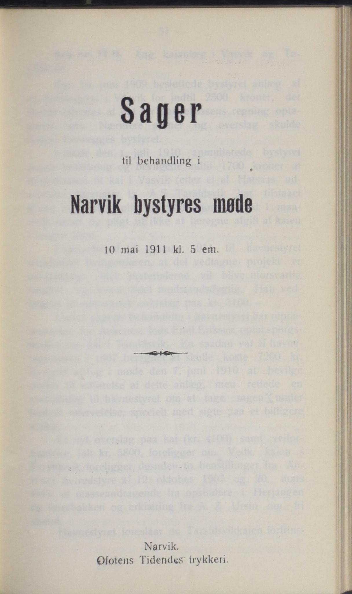 AIN, Narvik kommune. Formannskap , A/Ab/L0001: Møtebok, 1911