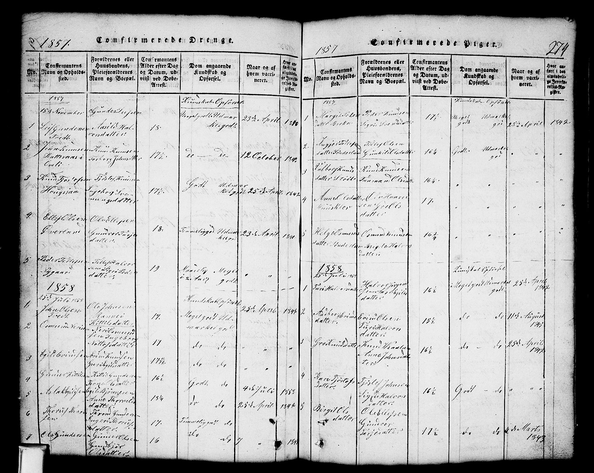 SAKO, Nissedal kirkebøker, G/Gb/L0001: Klokkerbok nr. II 1, 1814-1862, s. 274