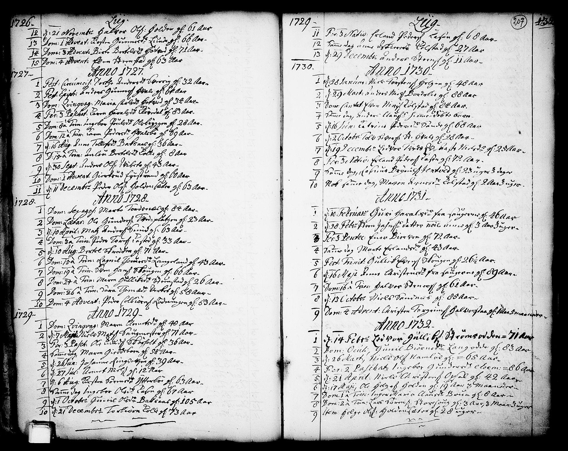 SAKO, Holla kirkebøker, F/Fa/L0001: Ministerialbok nr. 1, 1717-1779, s. 207