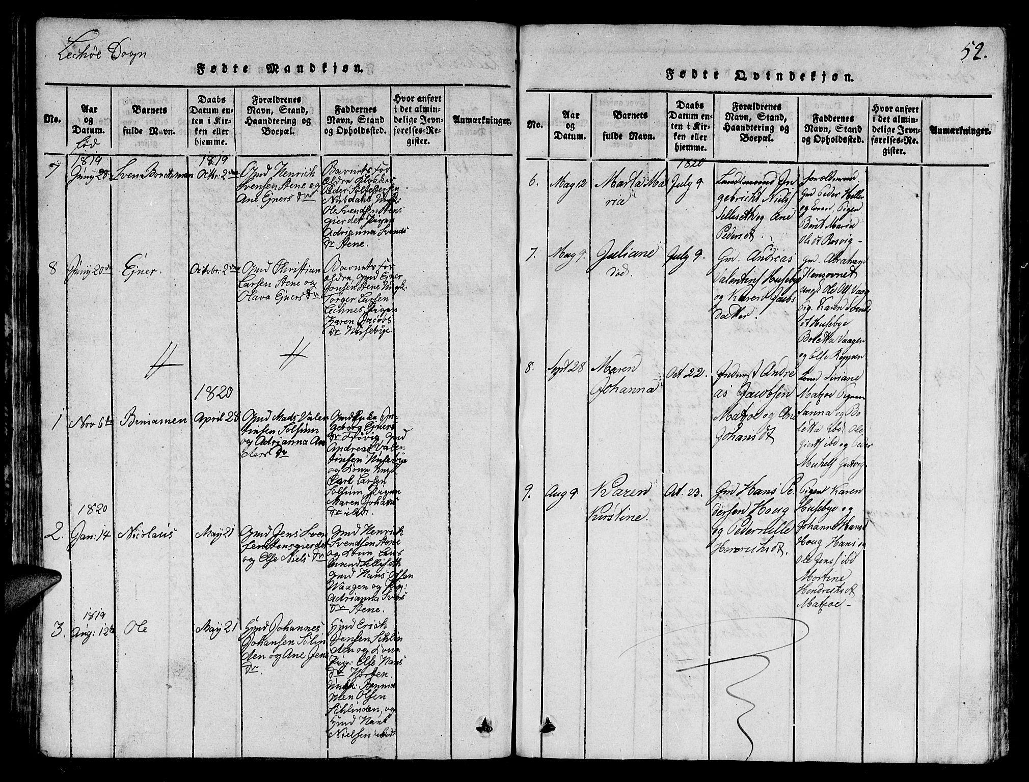 SAT, Ministerialprotokoller, klokkerbøker og fødselsregistre - Nord-Trøndelag, 780/L0648: Klokkerbok nr. 780C01 /2, 1815-1875, s. 52