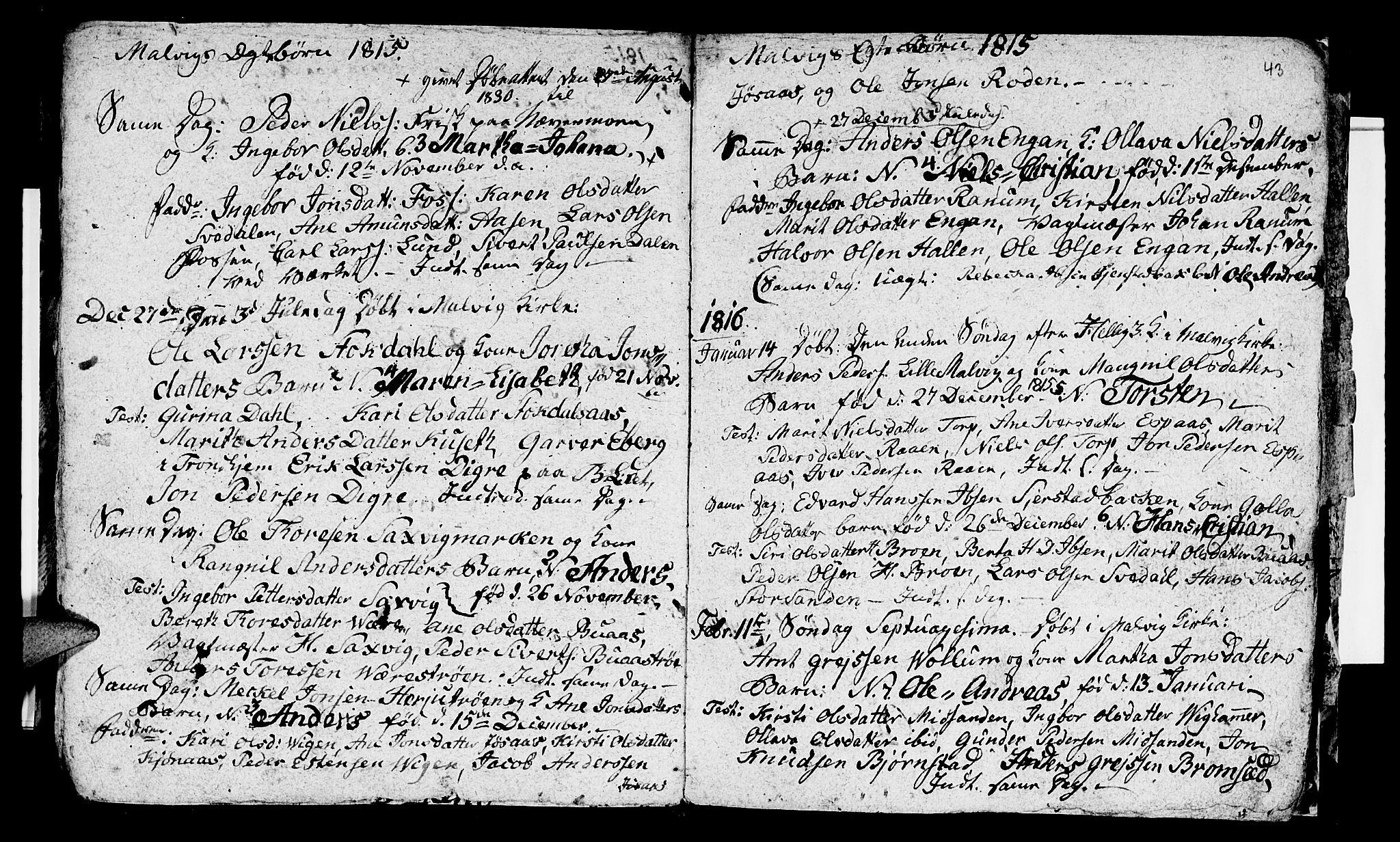 SAT, Ministerialprotokoller, klokkerbøker og fødselsregistre - Sør-Trøndelag, 616/L0419: Klokkerbok nr. 616C02, 1797-1816, s. 43