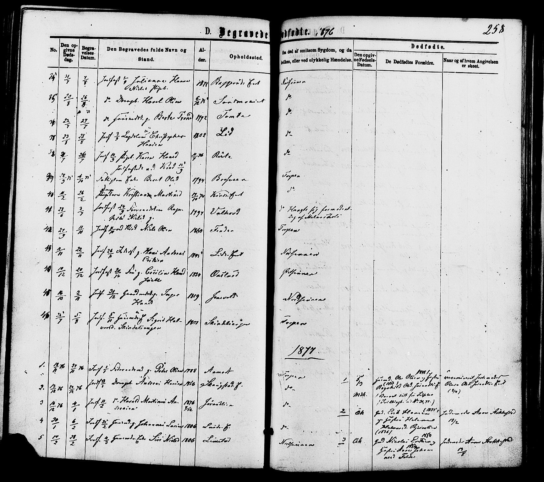 SAH, Nordre Land prestekontor, Ministerialbok nr. 2, 1872-1881, s. 258