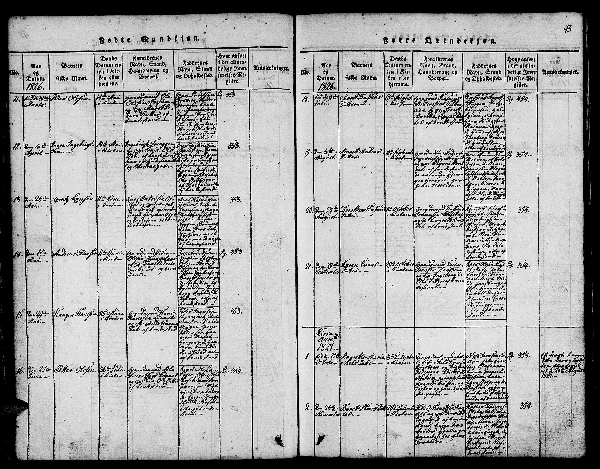 SAT, Ministerialprotokoller, klokkerbøker og fødselsregistre - Sør-Trøndelag, 665/L0776: Klokkerbok nr. 665C01, 1817-1837, s. 43