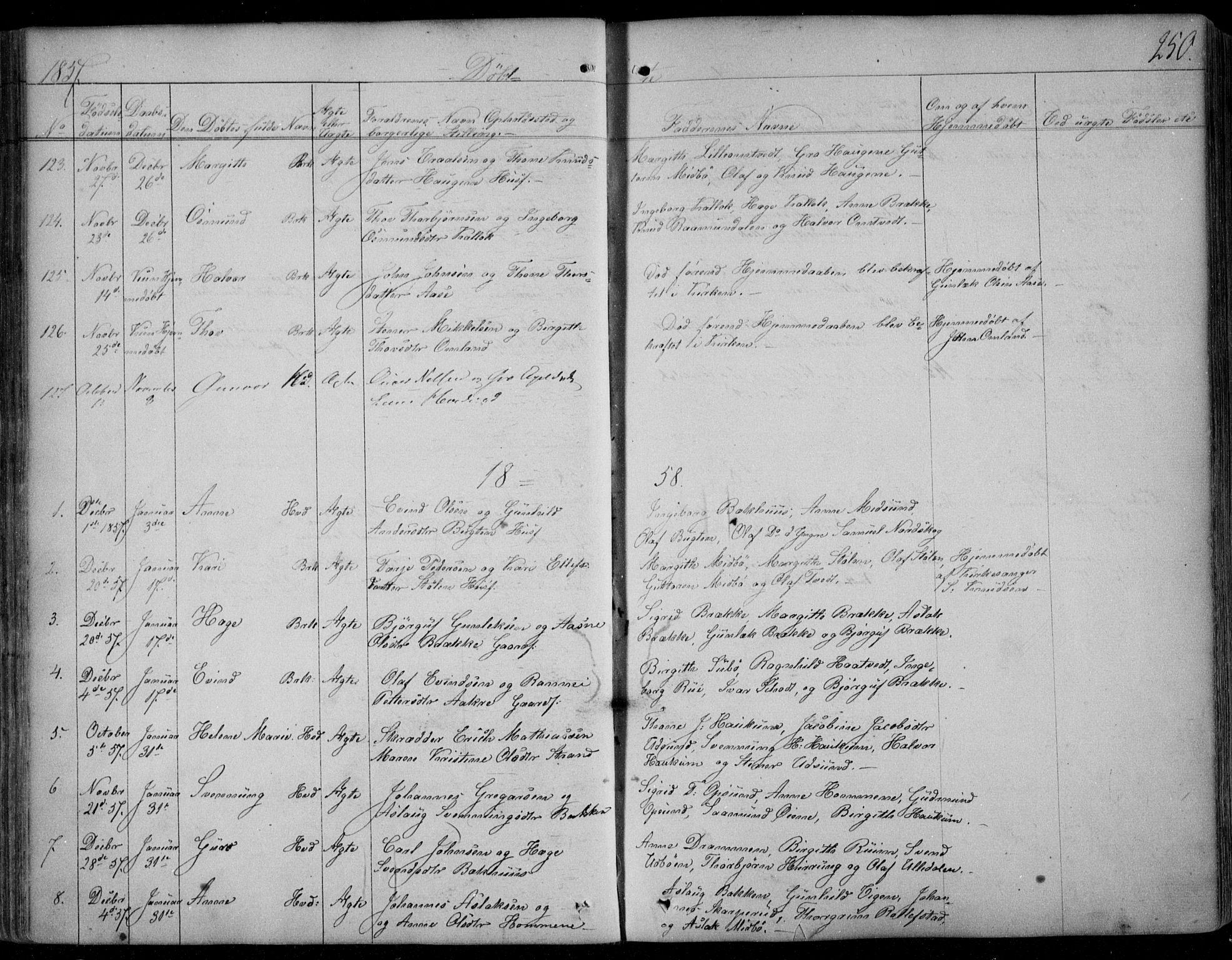 SAKO, Kviteseid kirkebøker, F/Fa/L0006: Ministerialbok nr. I 6, 1836-1858, s. 250
