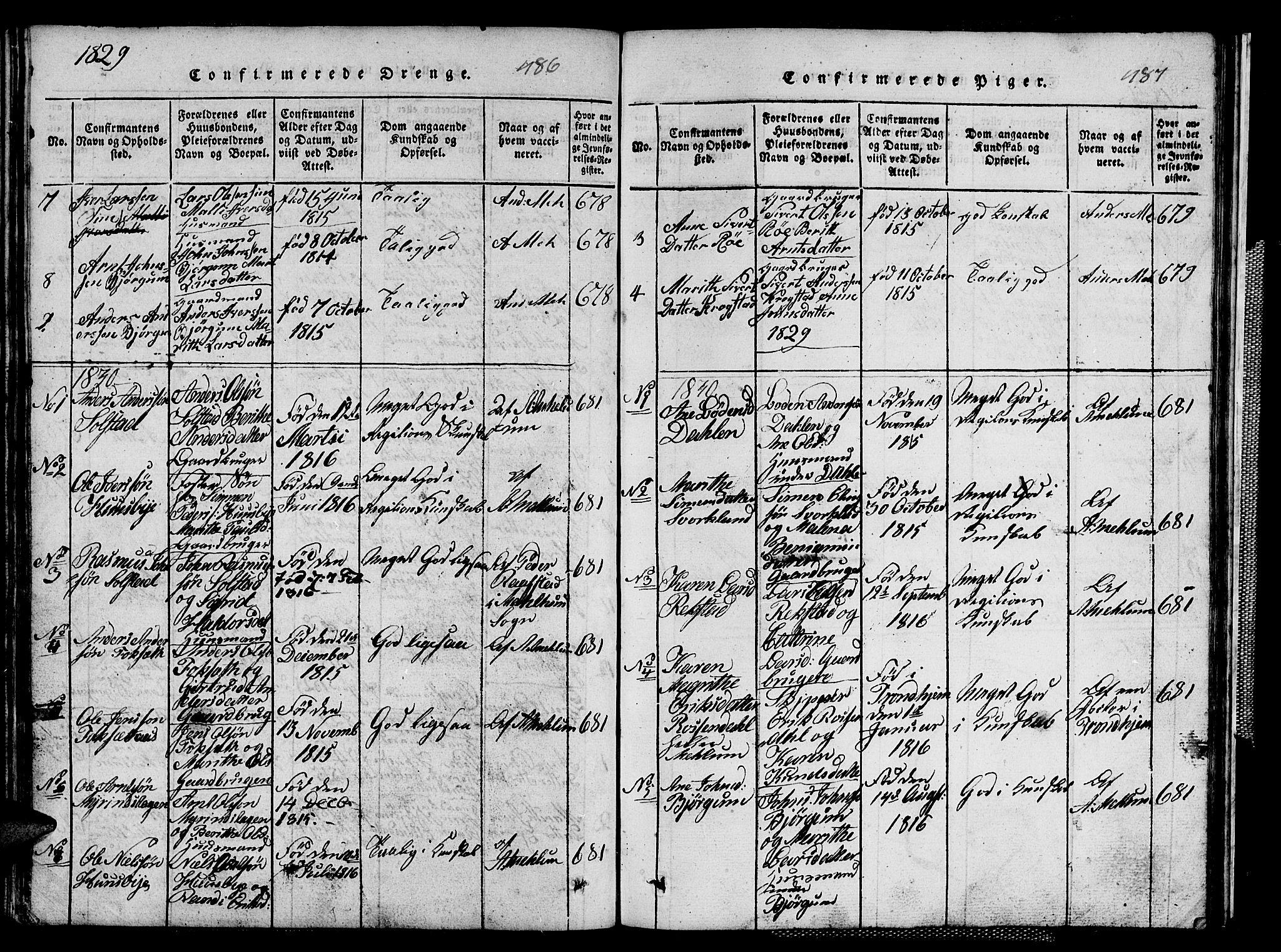 SAT, Ministerialprotokoller, klokkerbøker og fødselsregistre - Sør-Trøndelag, 667/L0796: Klokkerbok nr. 667C01, 1817-1836, s. 486-487