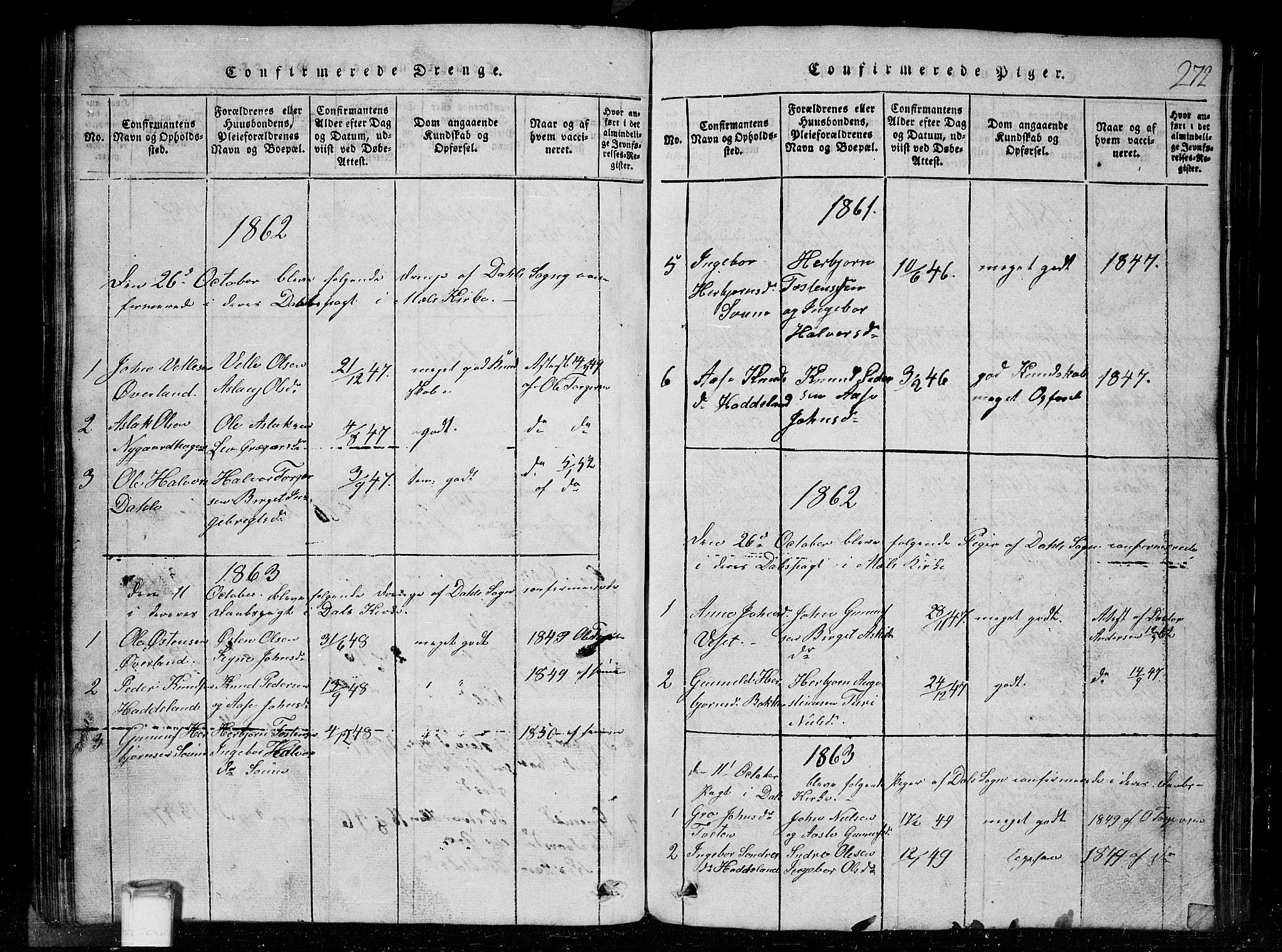 SAKO, Tinn kirkebøker, G/Gc/L0001: Klokkerbok nr. III 1, 1815-1879, s. 272