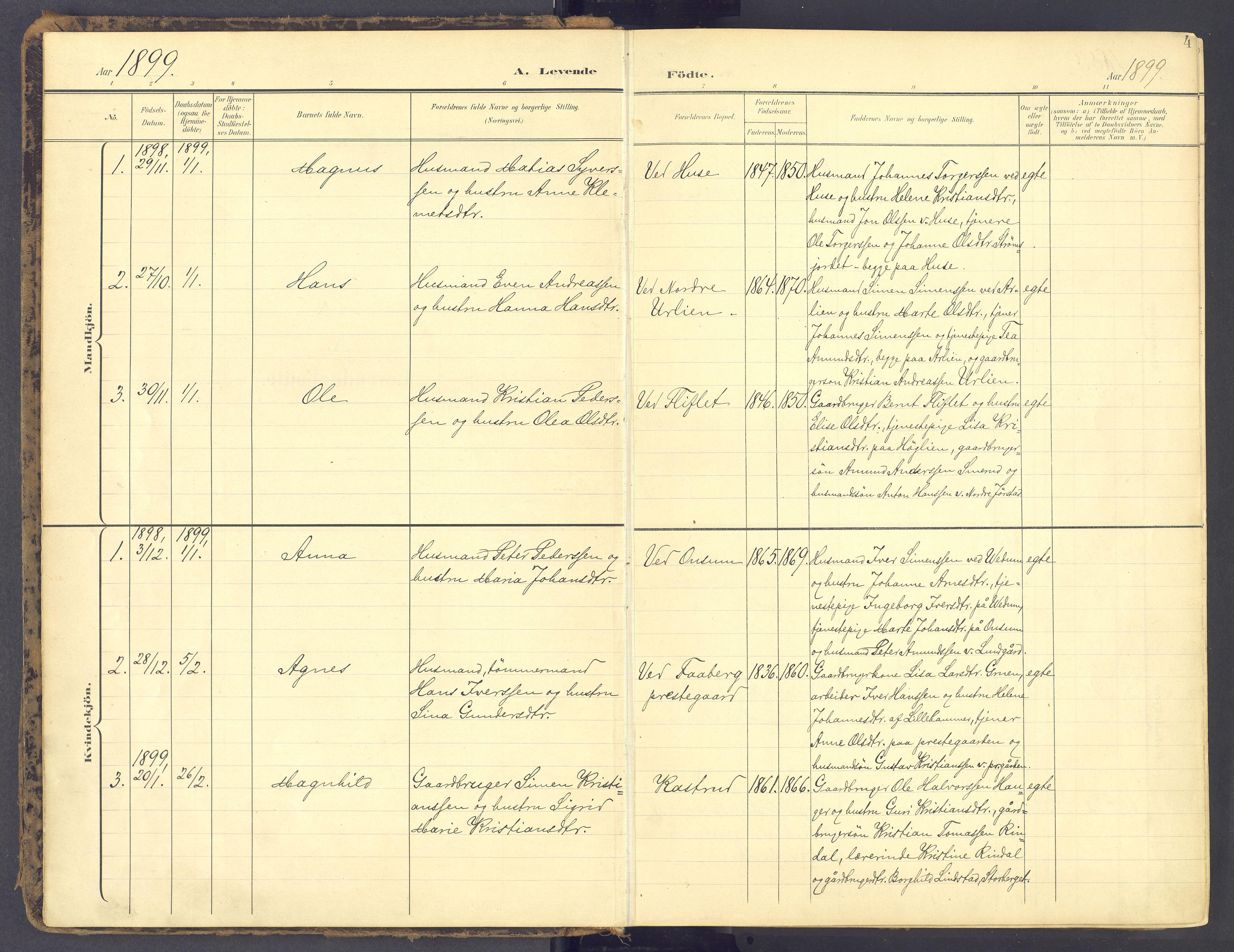 SAH, Fåberg prestekontor, Ministerialbok nr. 12, 1899-1915, s. 4