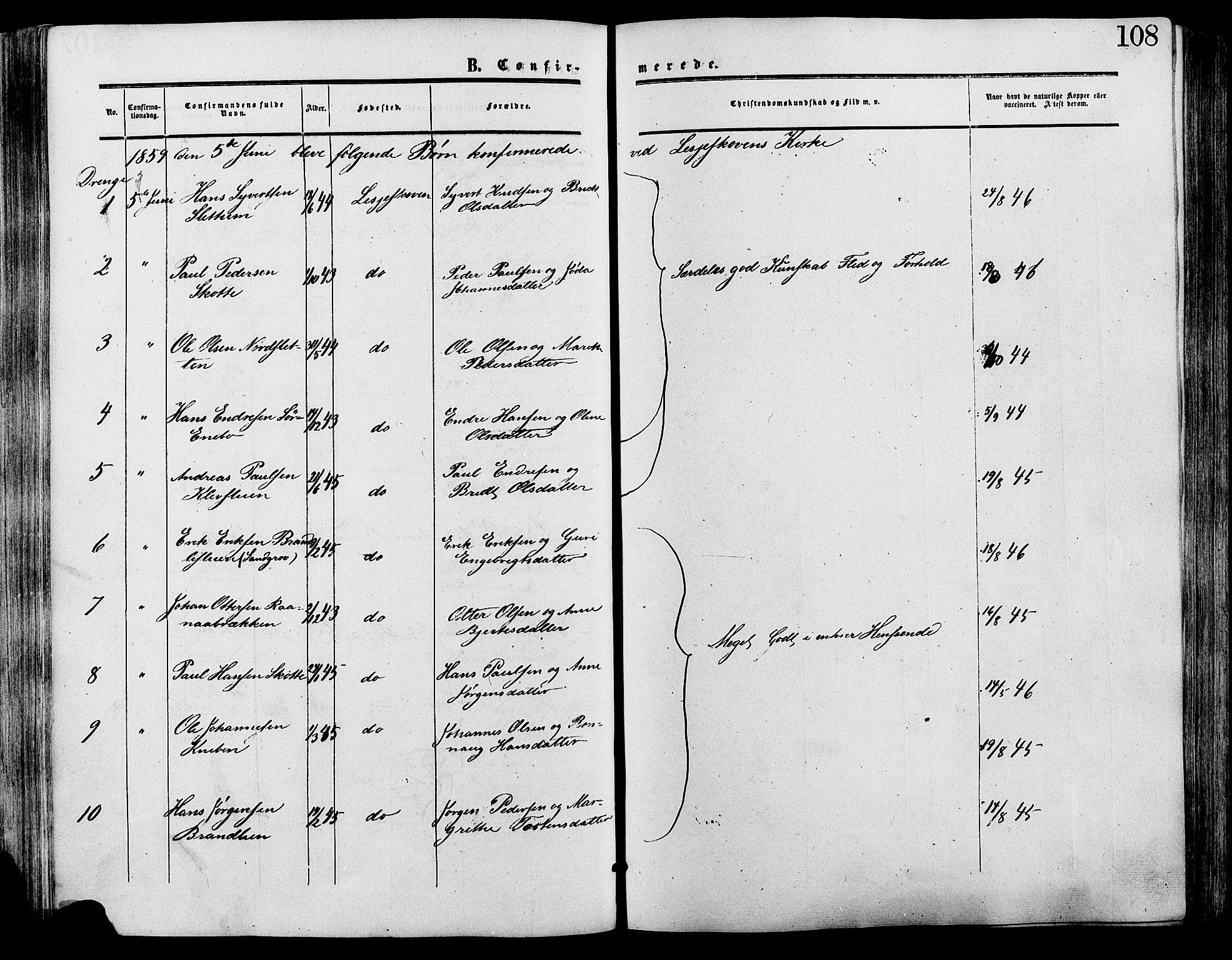 SAH, Lesja prestekontor, Ministerialbok nr. 9, 1854-1889, s. 108