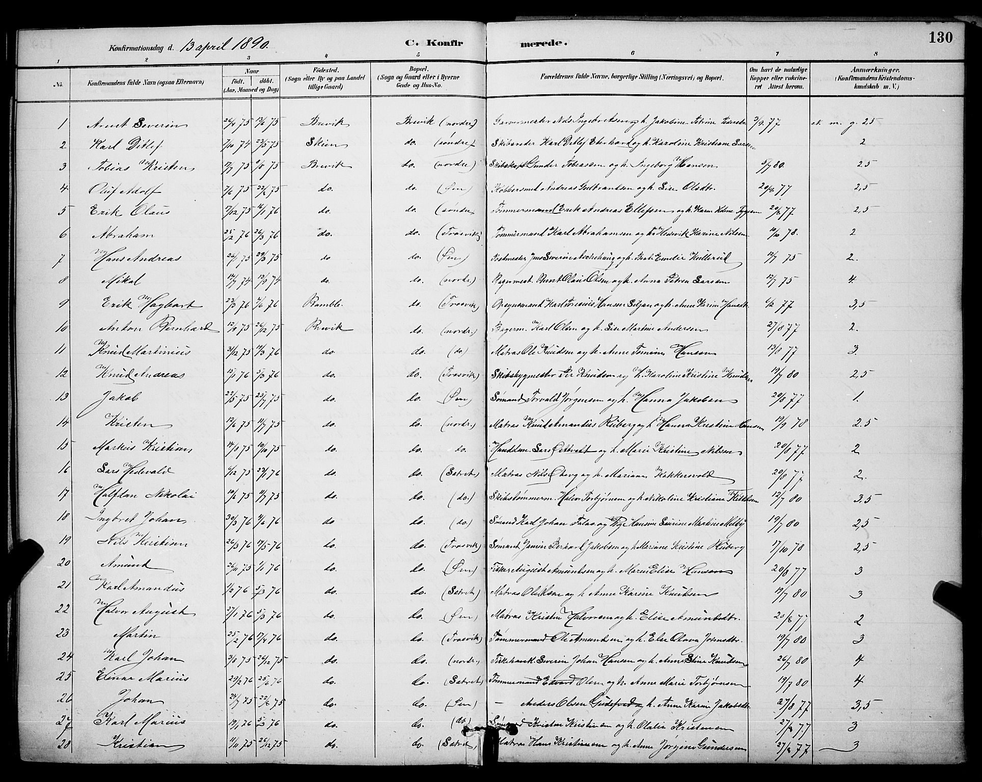 SAKO, Brevik kirkebøker, G/Ga/L0004: Klokkerbok nr. 4, 1882-1900, s. 130