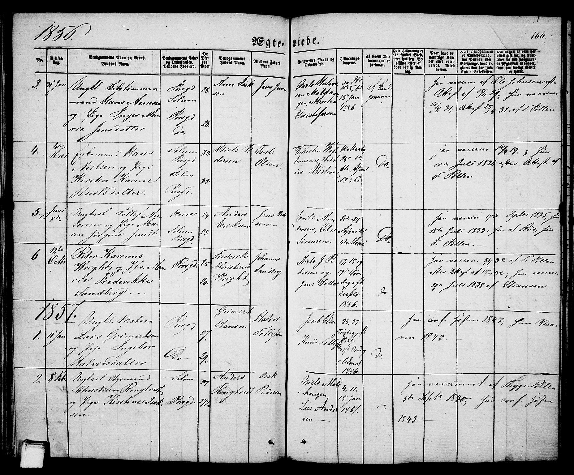 SAKO, Porsgrunn kirkebøker , G/Ga/L0002: Klokkerbok nr. I 2, 1847-1877, s. 166