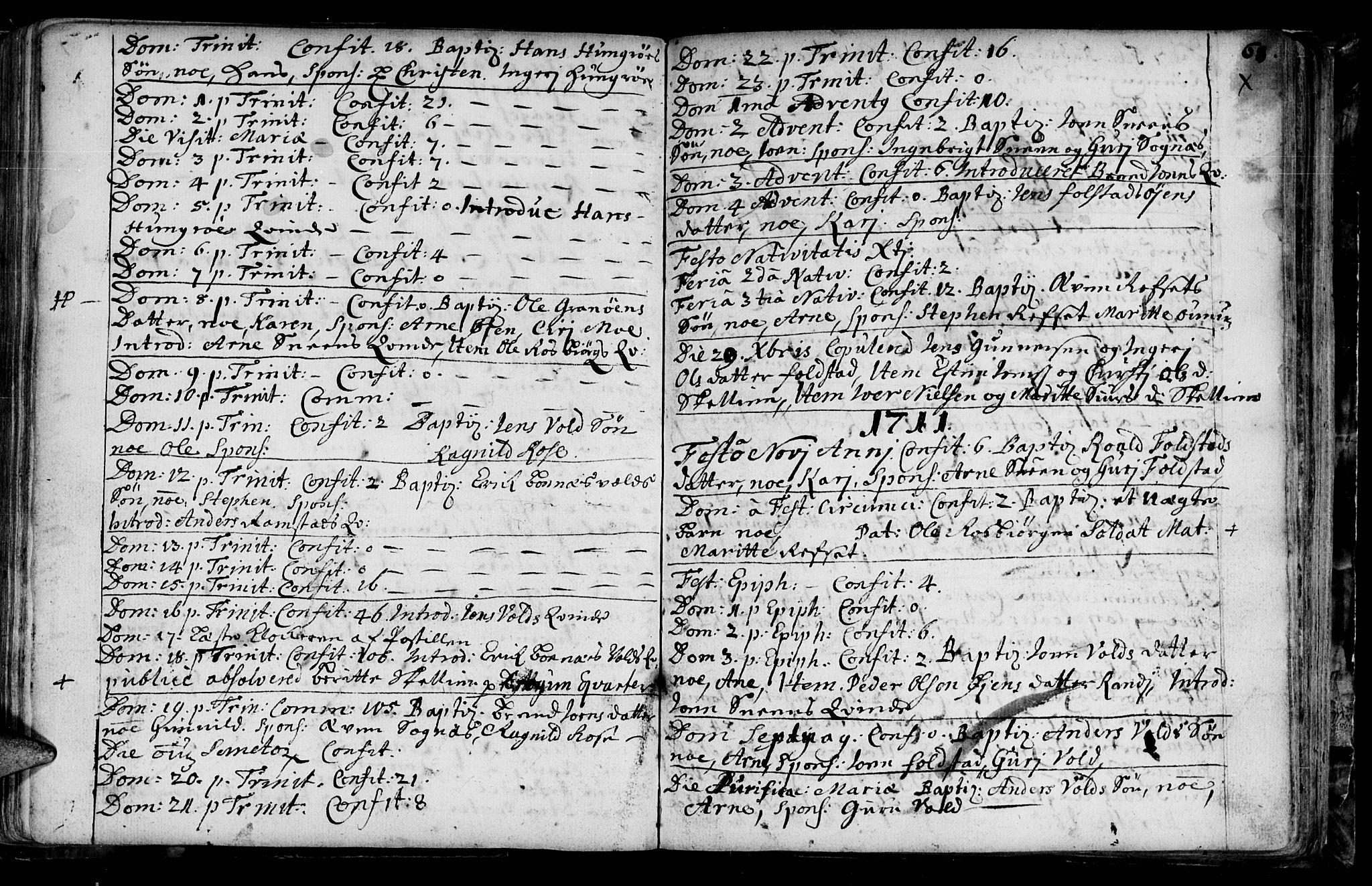 SAT, Ministerialprotokoller, klokkerbøker og fødselsregistre - Sør-Trøndelag, 687/L0990: Ministerialbok nr. 687A01, 1690-1746, s. 68