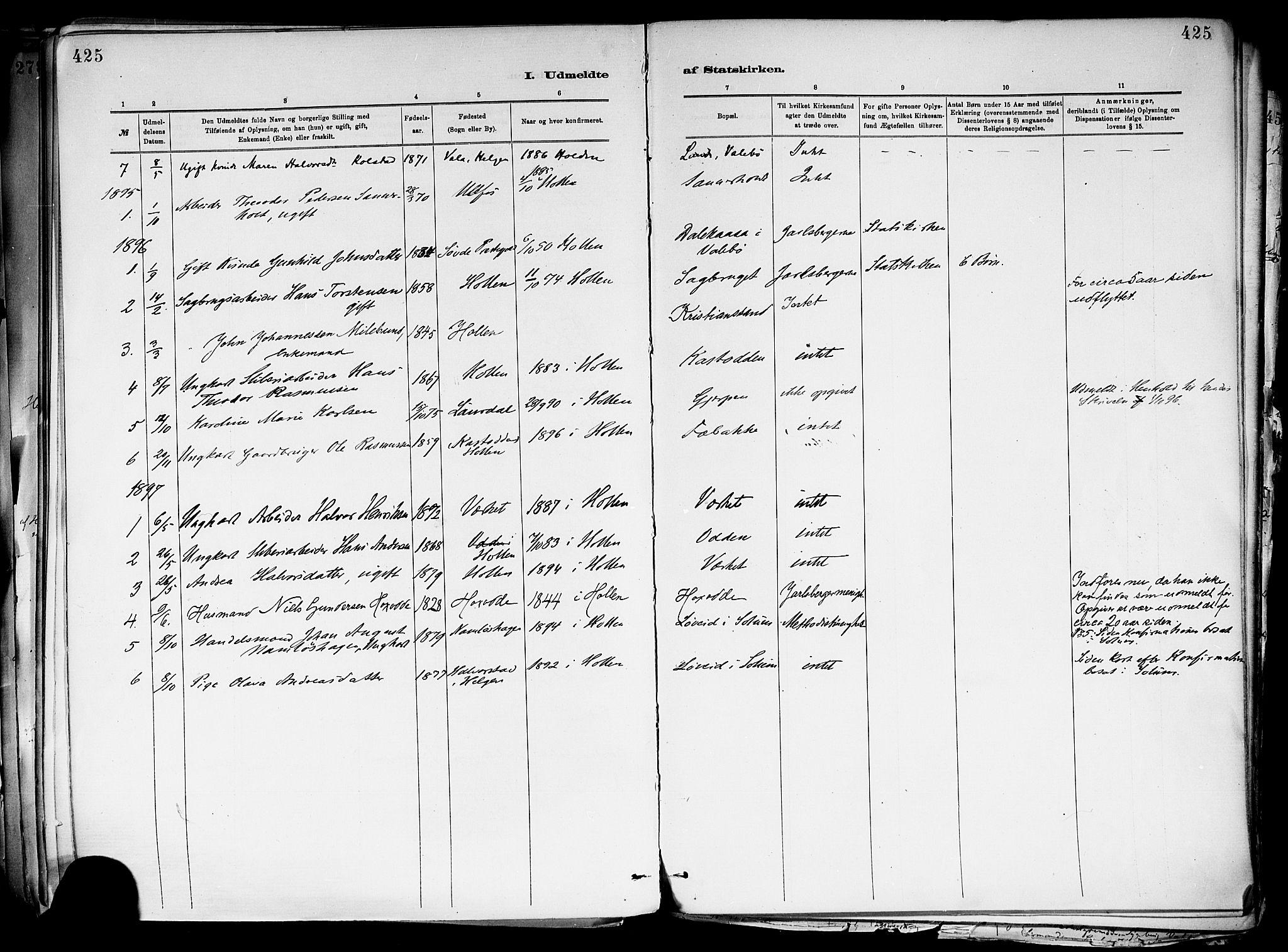 SAKO, Holla kirkebøker, F/Fa/L0008: Ministerialbok nr. 8, 1882-1897, s. 425