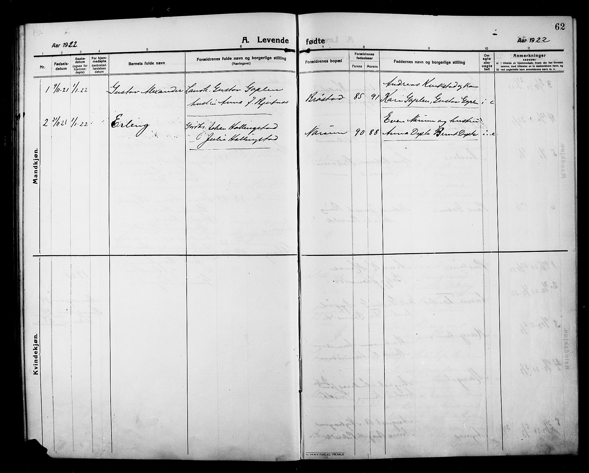 SAH, Kolbu prestekontor, Klokkerbok nr. 1, 1912-1925, s. 62