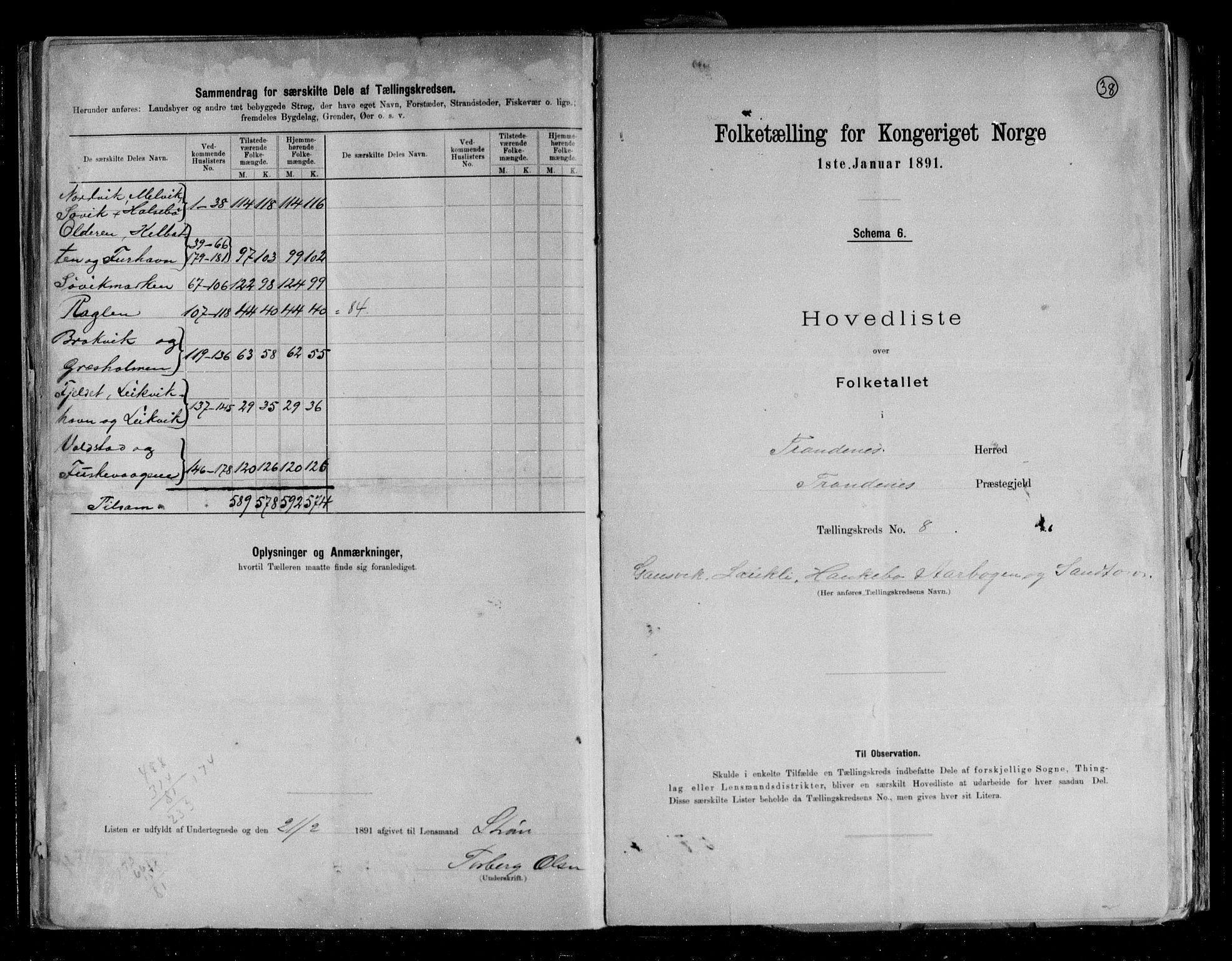 RA, Folketelling 1891 for 1914 Trondenes herred, 1891, s. 22
