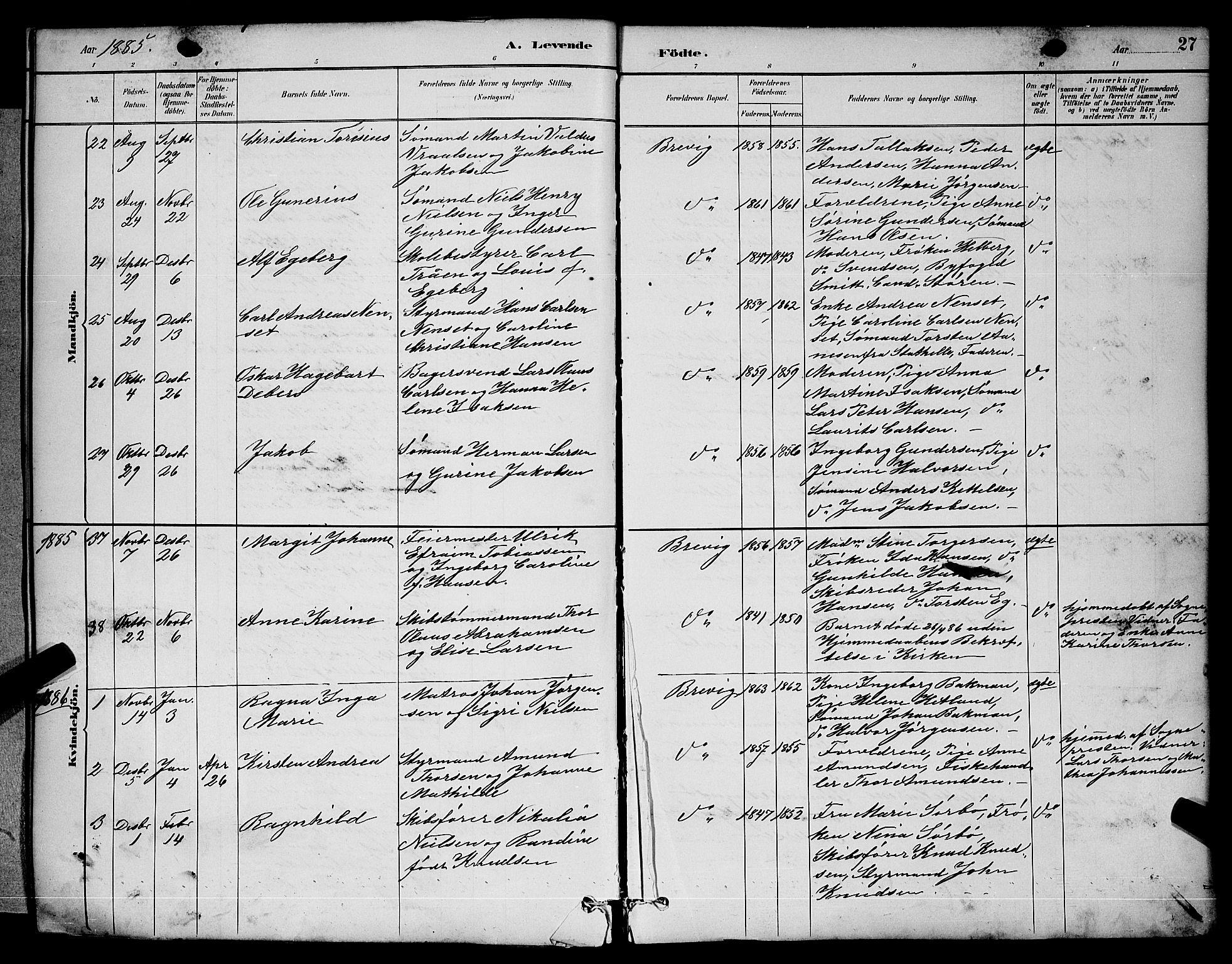 SAKO, Brevik kirkebøker, G/Ga/L0004: Klokkerbok nr. 4, 1882-1900, s. 27